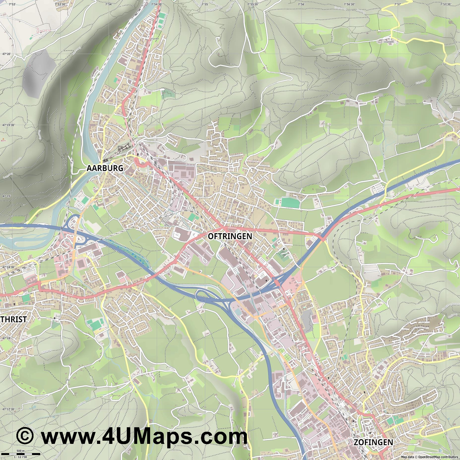 Oftringen  jpg ultra high detail preview vector city map