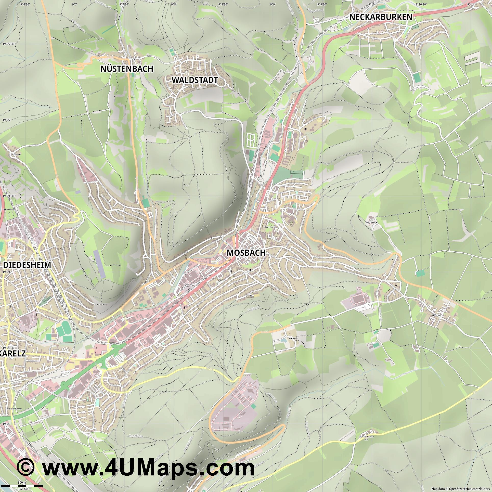 Mosbach  jpg ultra high detail preview vector city map