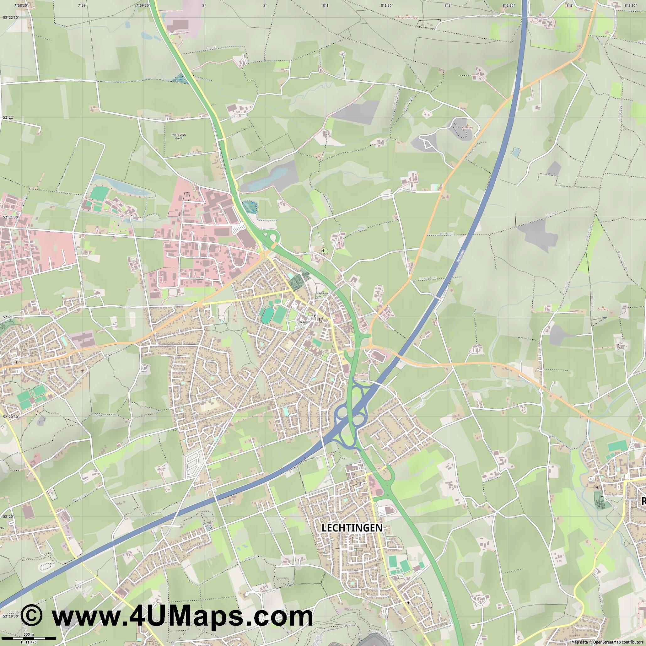 Wallenhorst  jpg ultra high detail preview vector city map