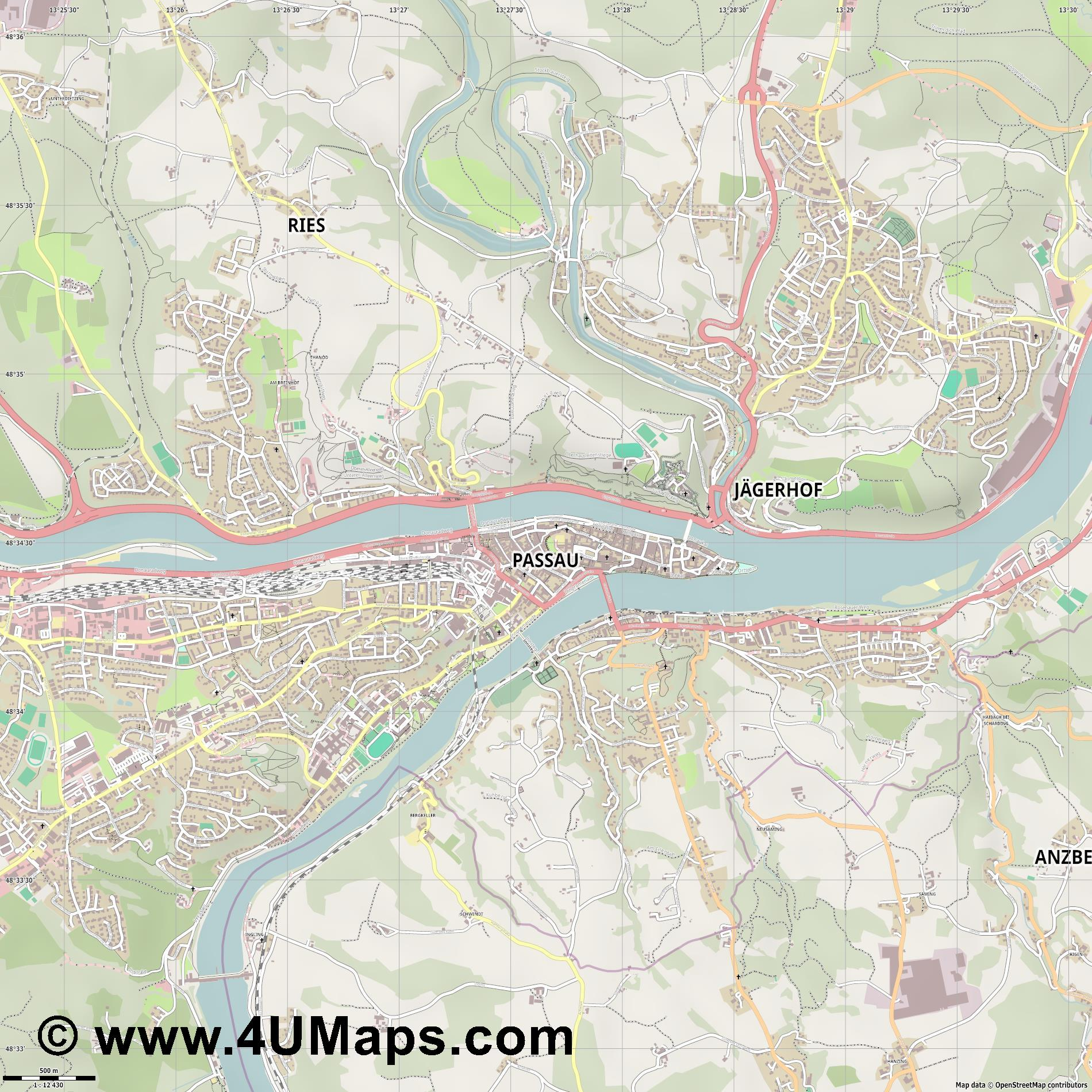 Passau  jpg ultra high detail preview vector city map