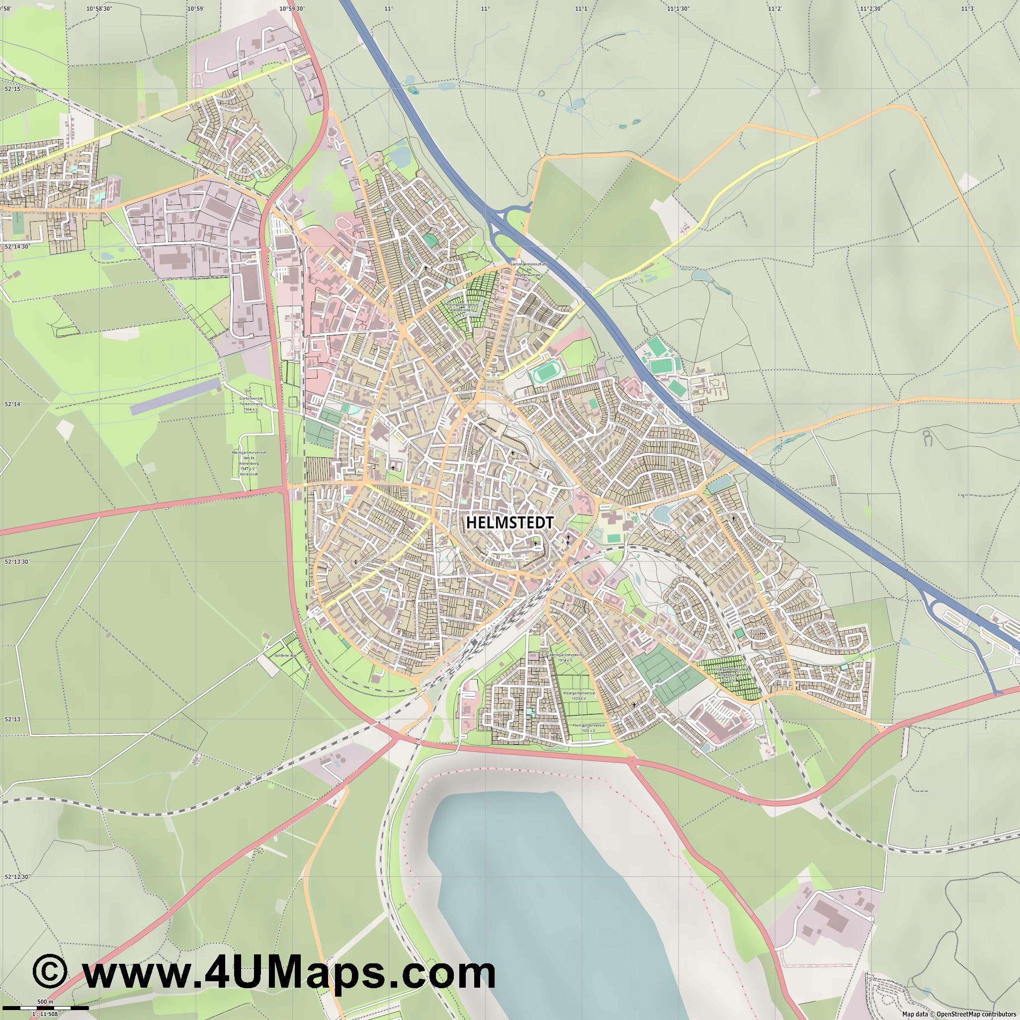 Helmstedt  jpg ultra high detail preview vector city map