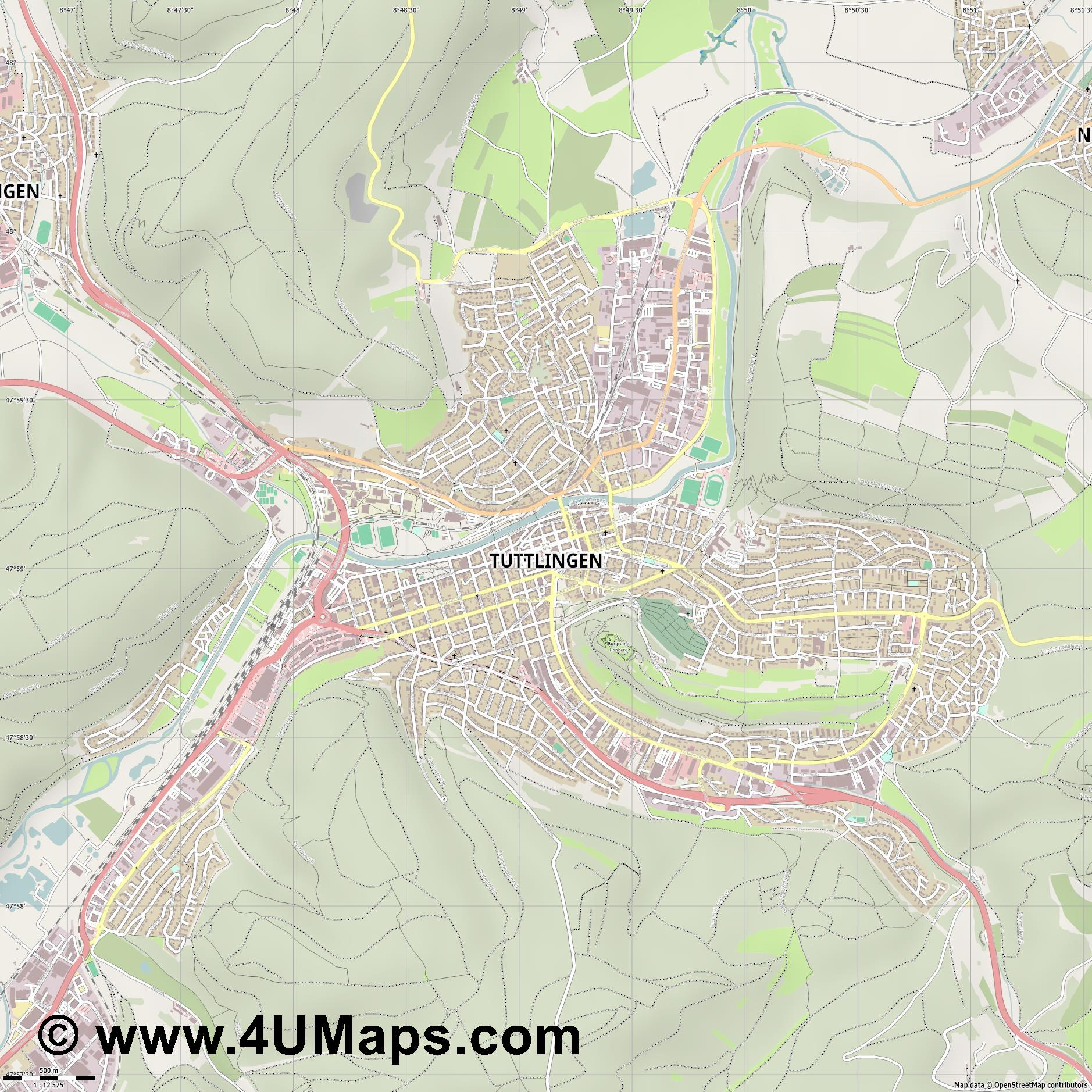 Tuttlingen  jpg ultra high detail preview vector city map