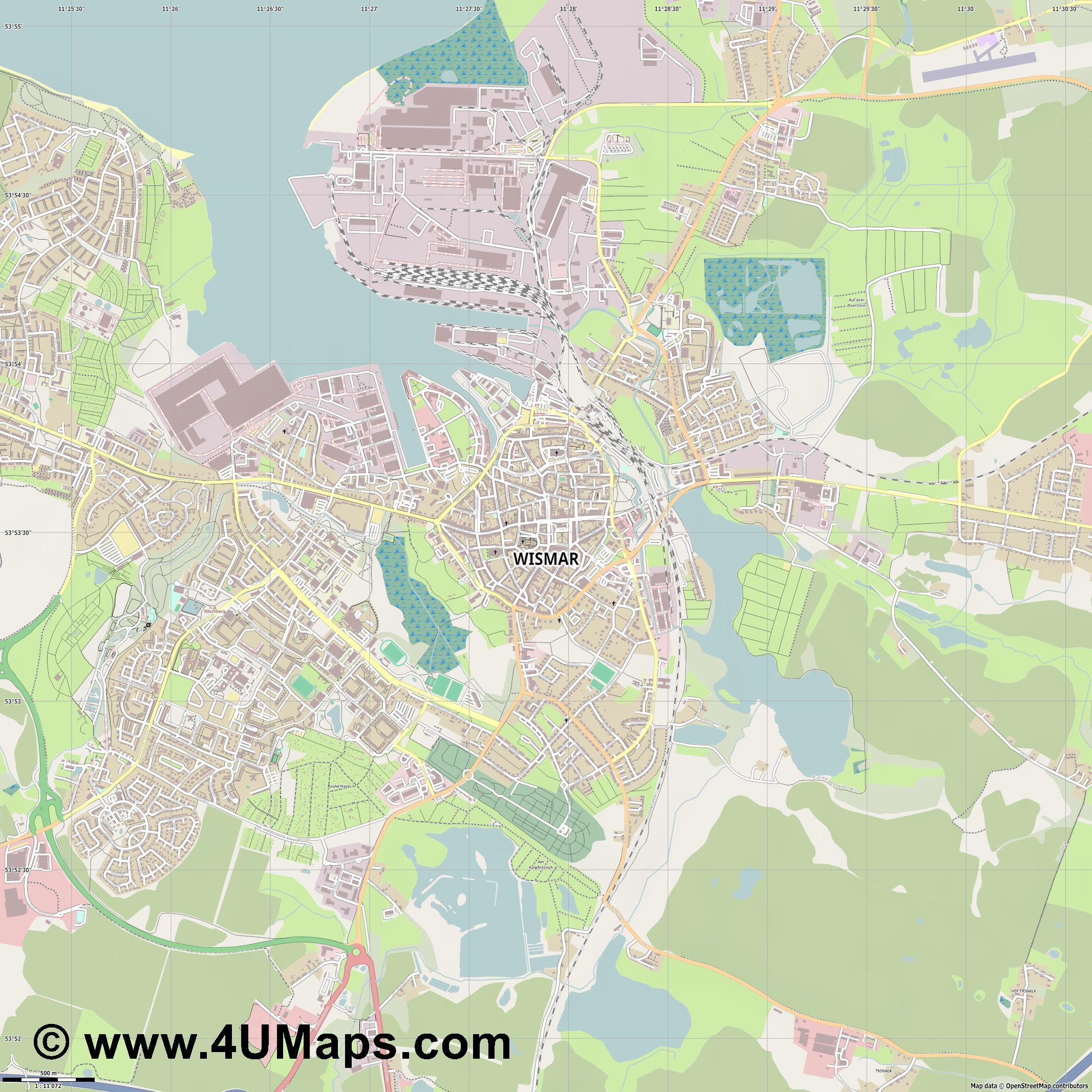 Pdf Svg Scalable City Map Vector Wismar