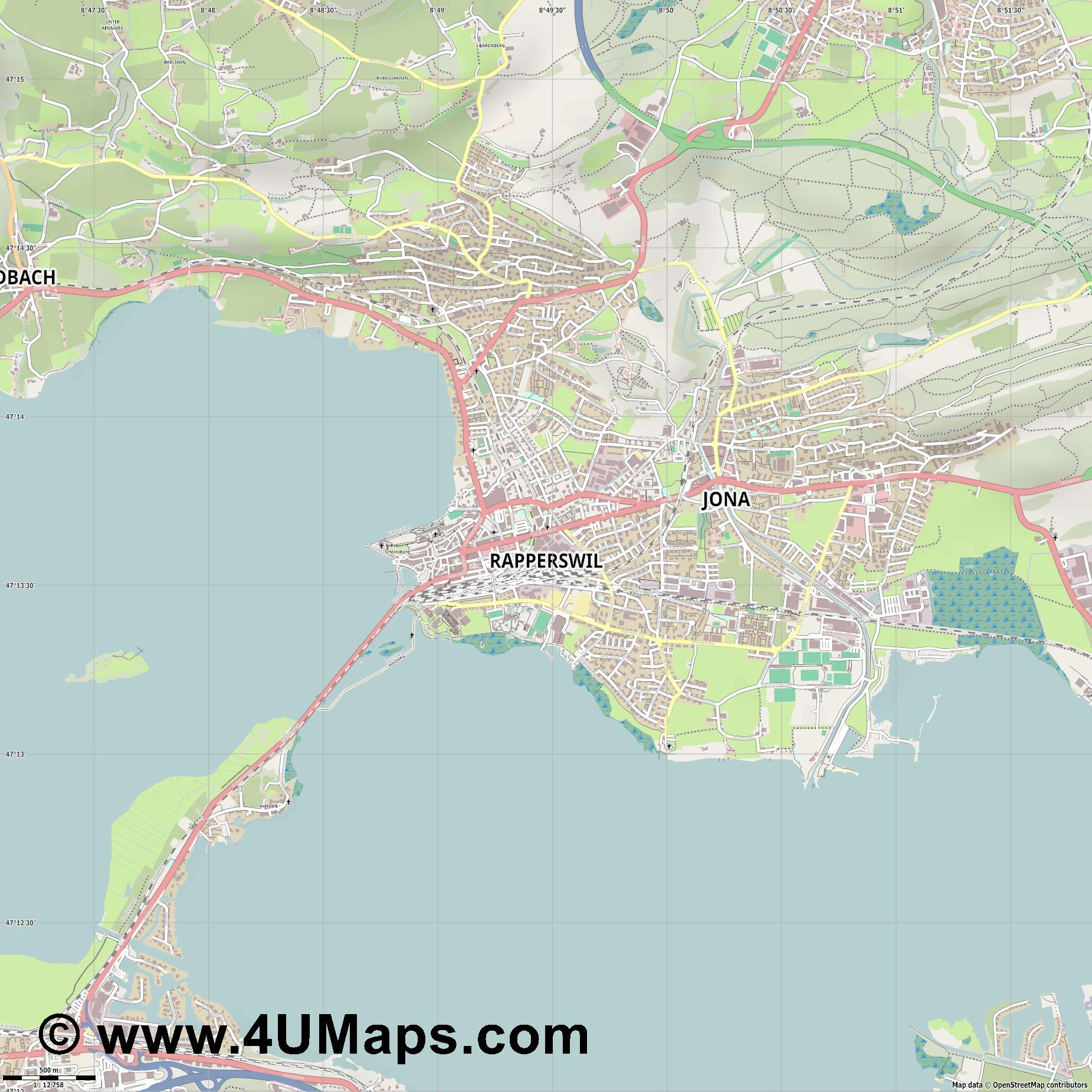 Rapperswil  jpg ultra high detail preview vector city map