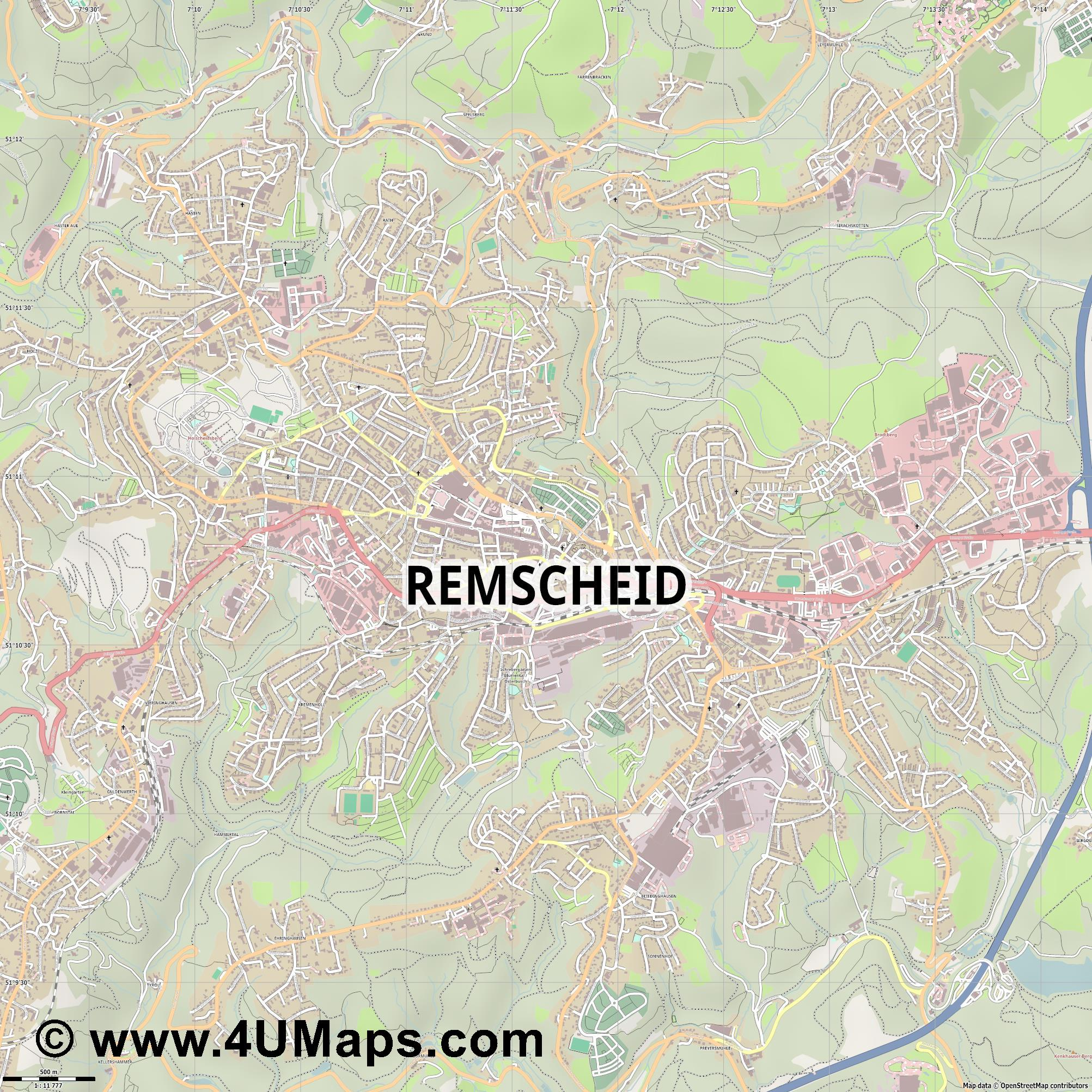 Remscheid  jpg ultra high detail preview vector city map
