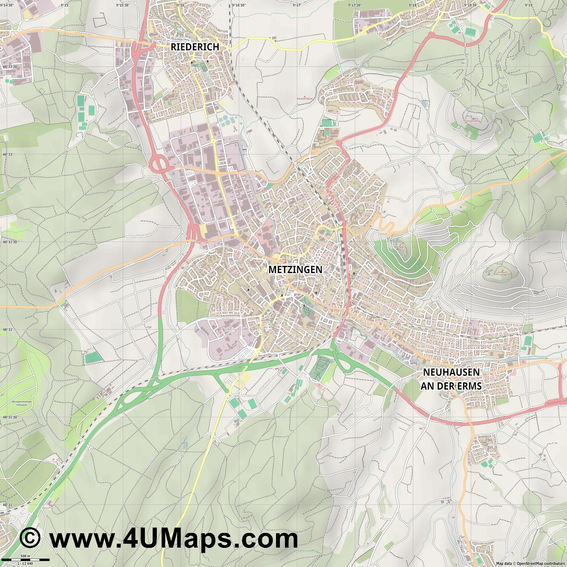 Metzingen  jpg ultra high detail preview vector city map