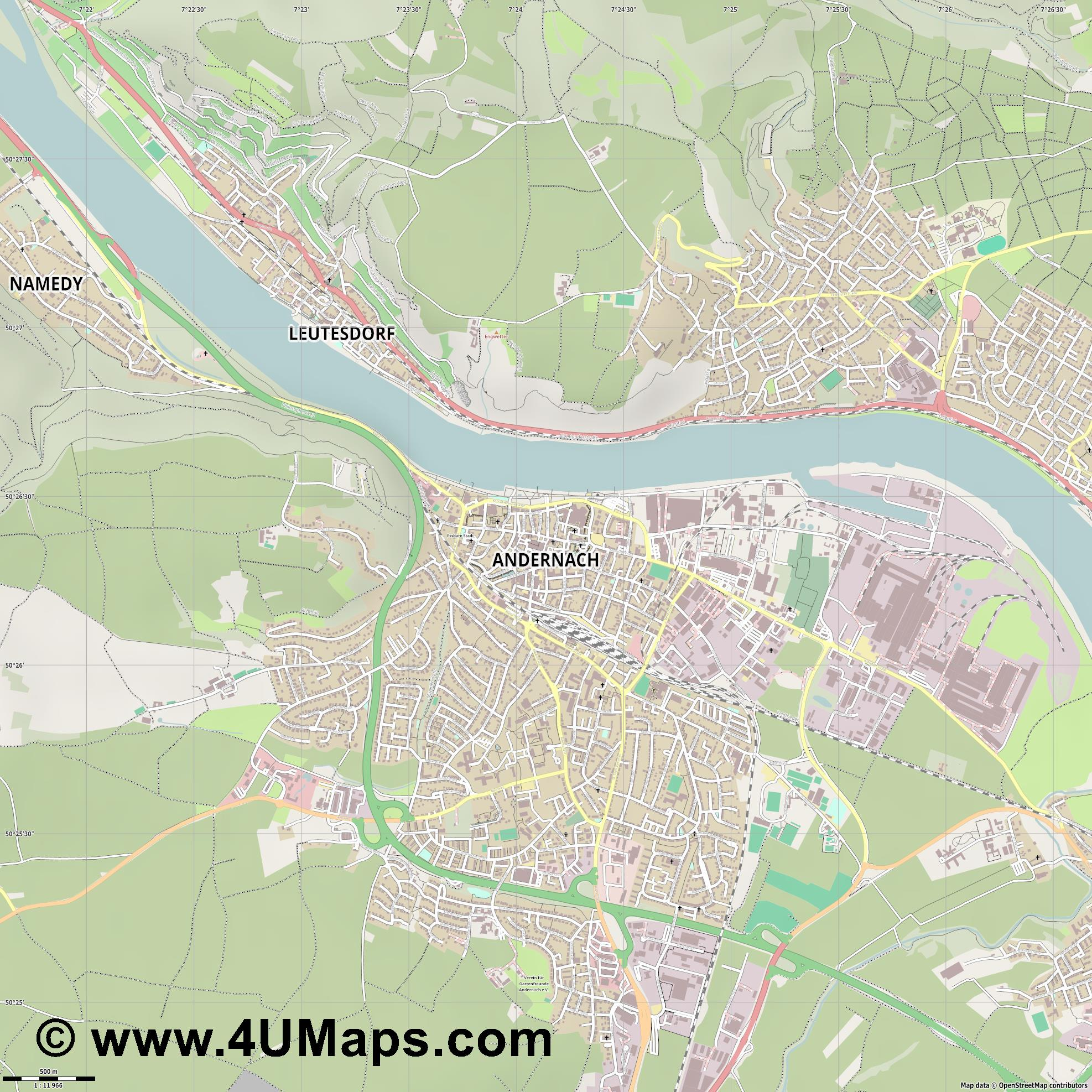 Andernach  jpg ultra high detail preview vector city map