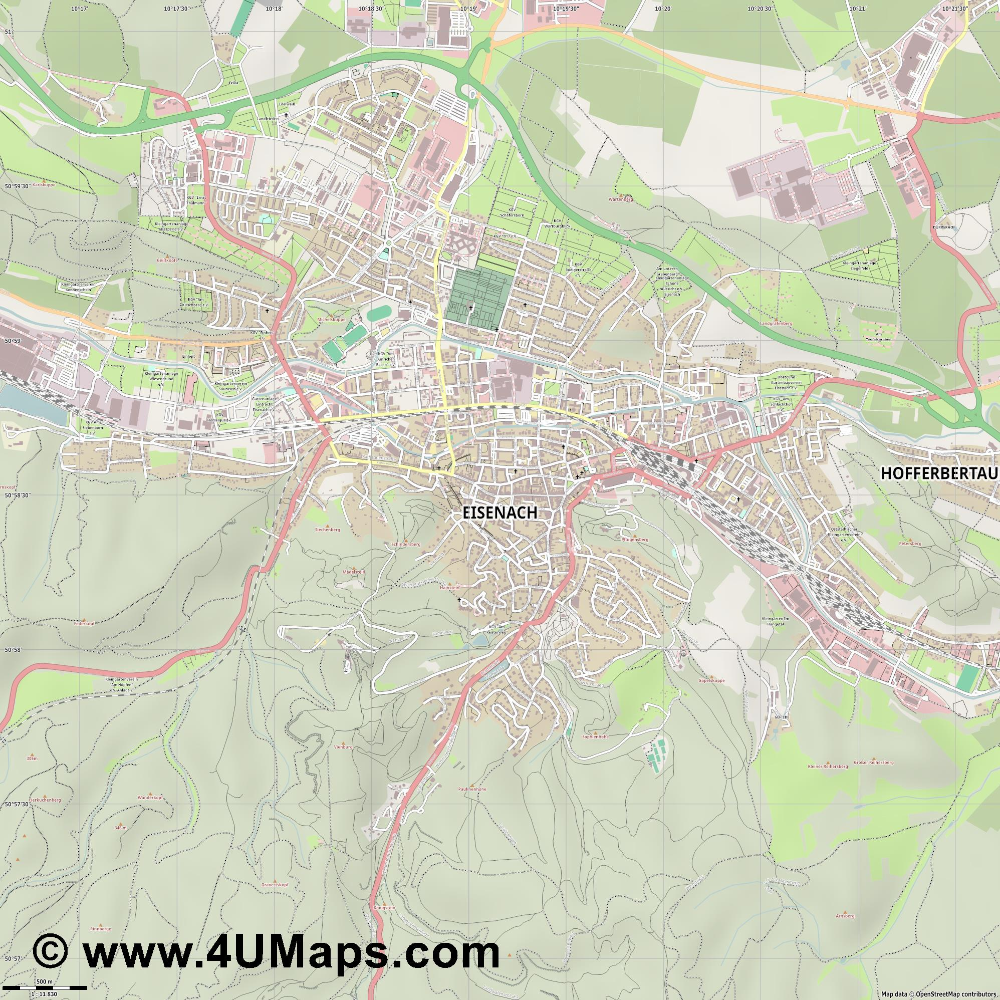 Eisenach  jpg ultra high detail preview vector city map