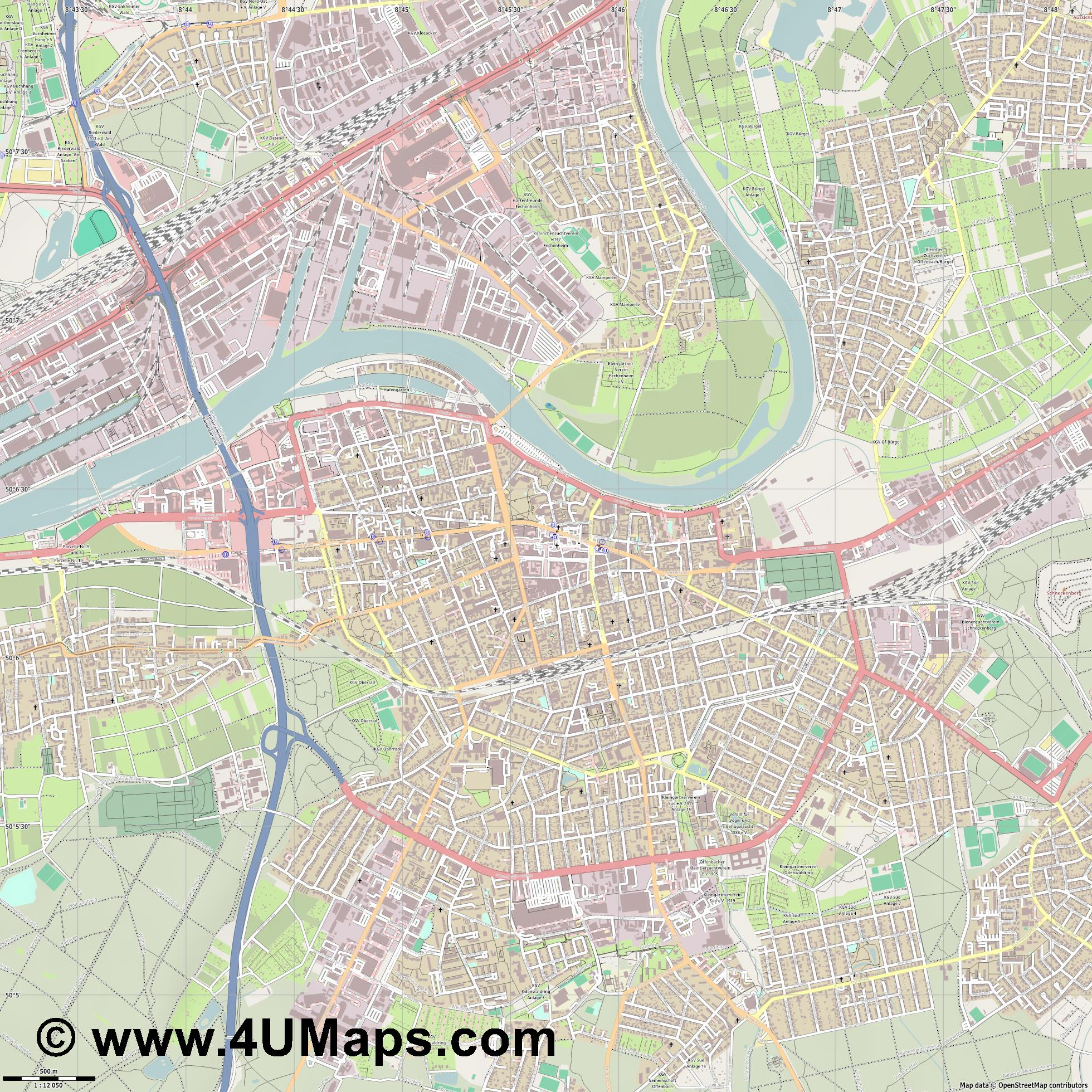 Offenbach am Main Offenbach del Meno Offenbach sur le Main  jpg ultra high detail preview vector city map