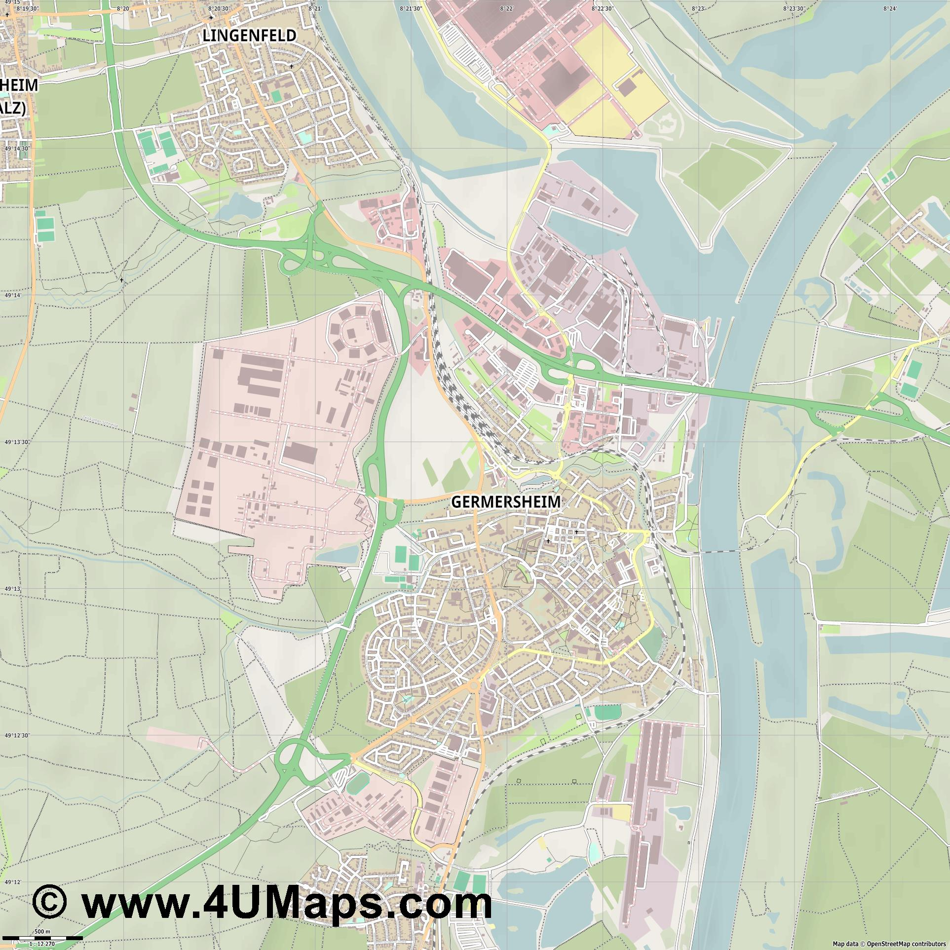 Germersheim  jpg ultra high detail preview vector city map