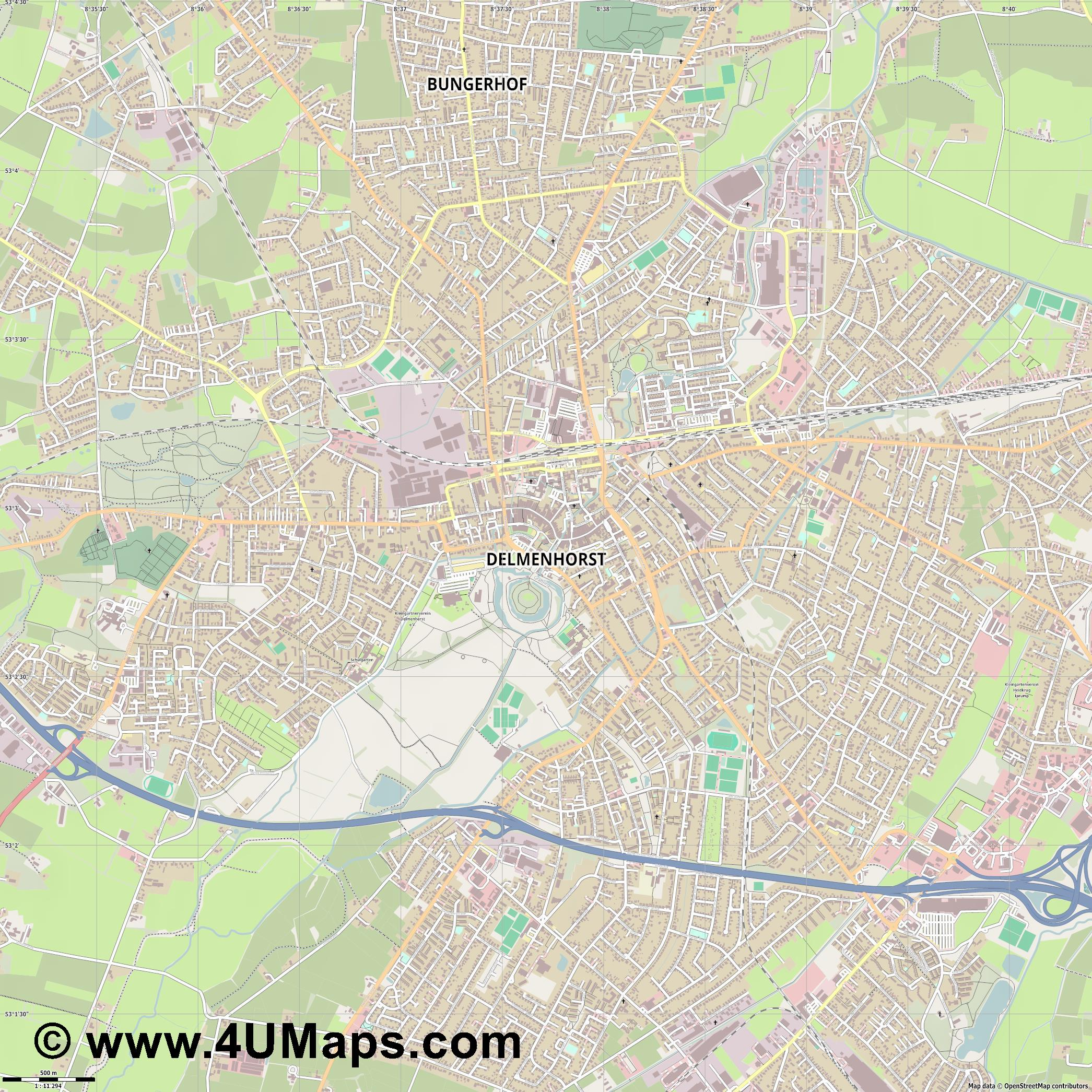 Delmenhorst  jpg ultra high detail preview vector city map