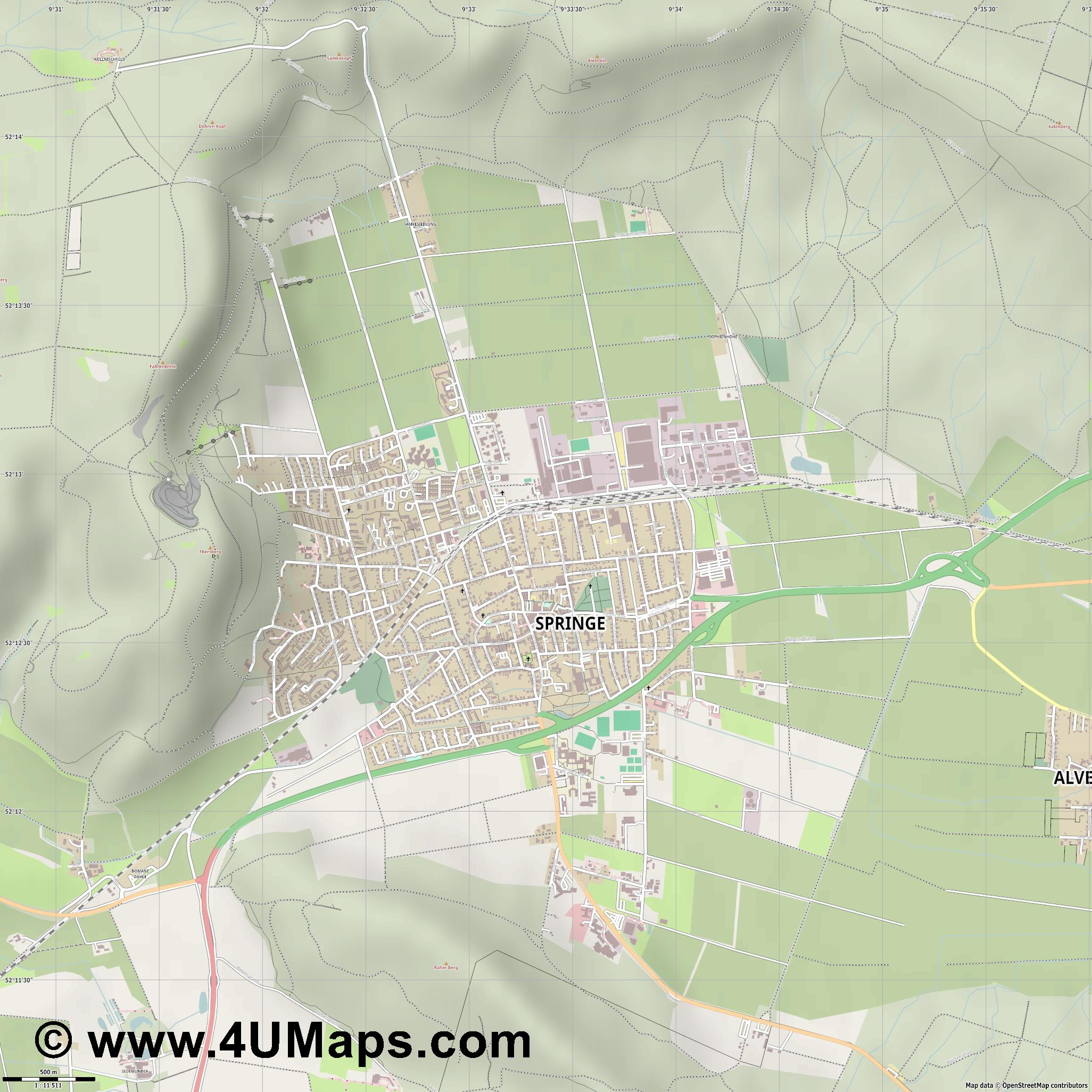 Springe  jpg ultra high detail preview vector city map