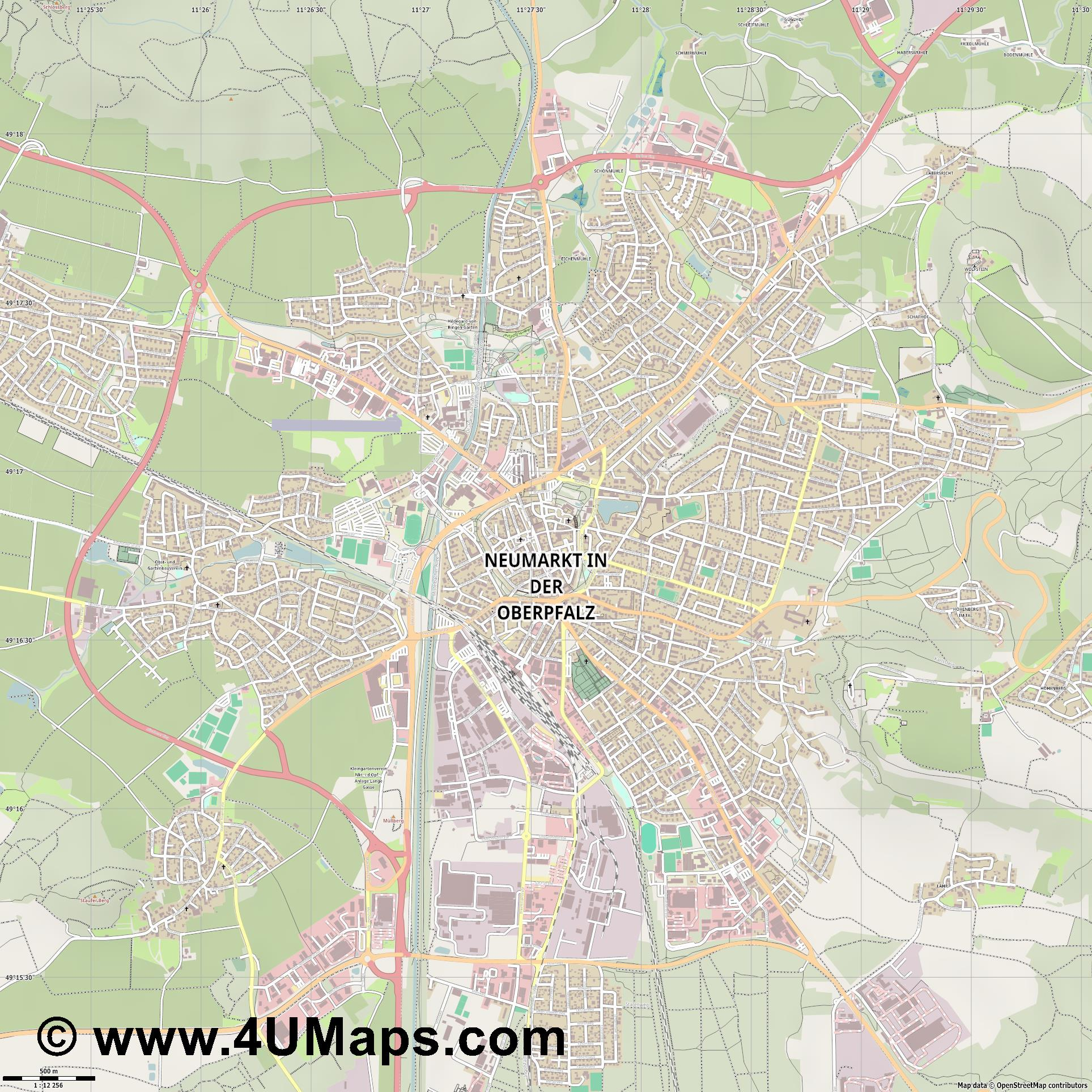 Neumarkt in der Oberpfalz  jpg ultra high detail preview vector city map
