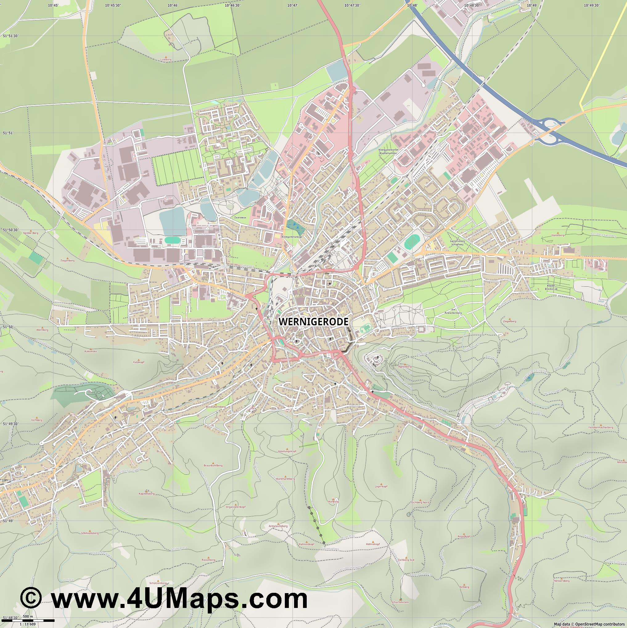 Wernigerode  jpg ultra high detail preview vector city map