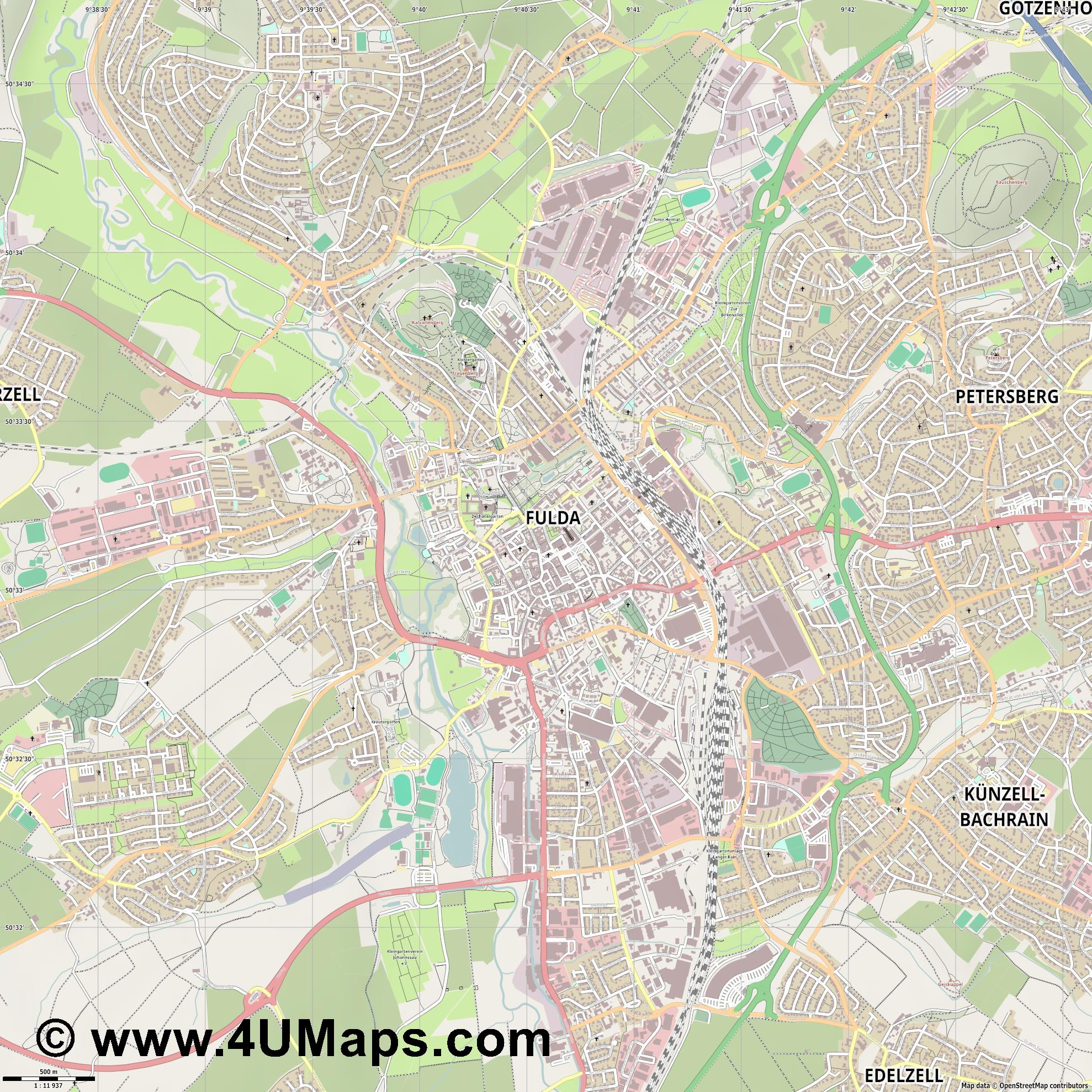 Fulda  jpg ultra high detail preview vector city map