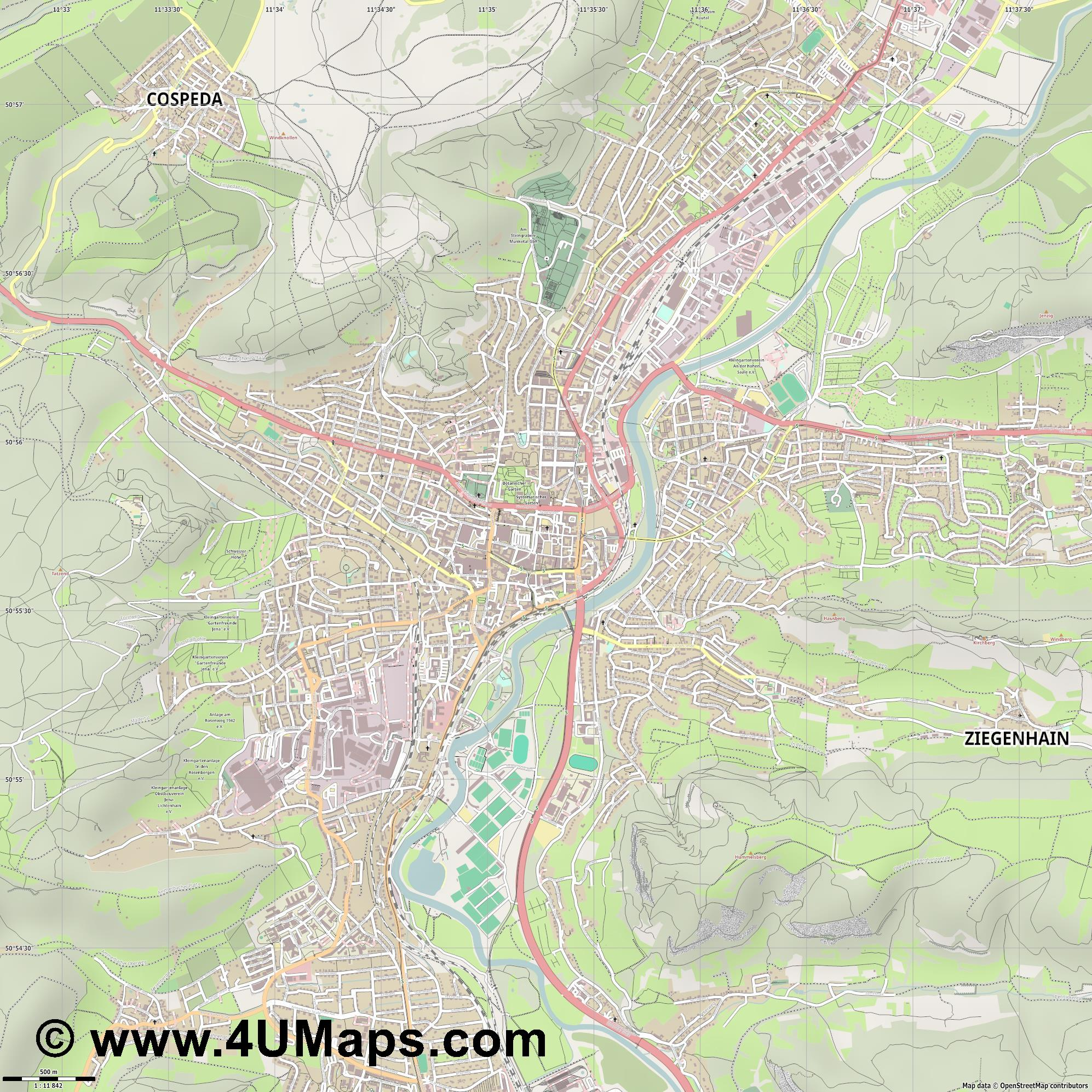 Jena  jpg ultra high detail preview vector city map
