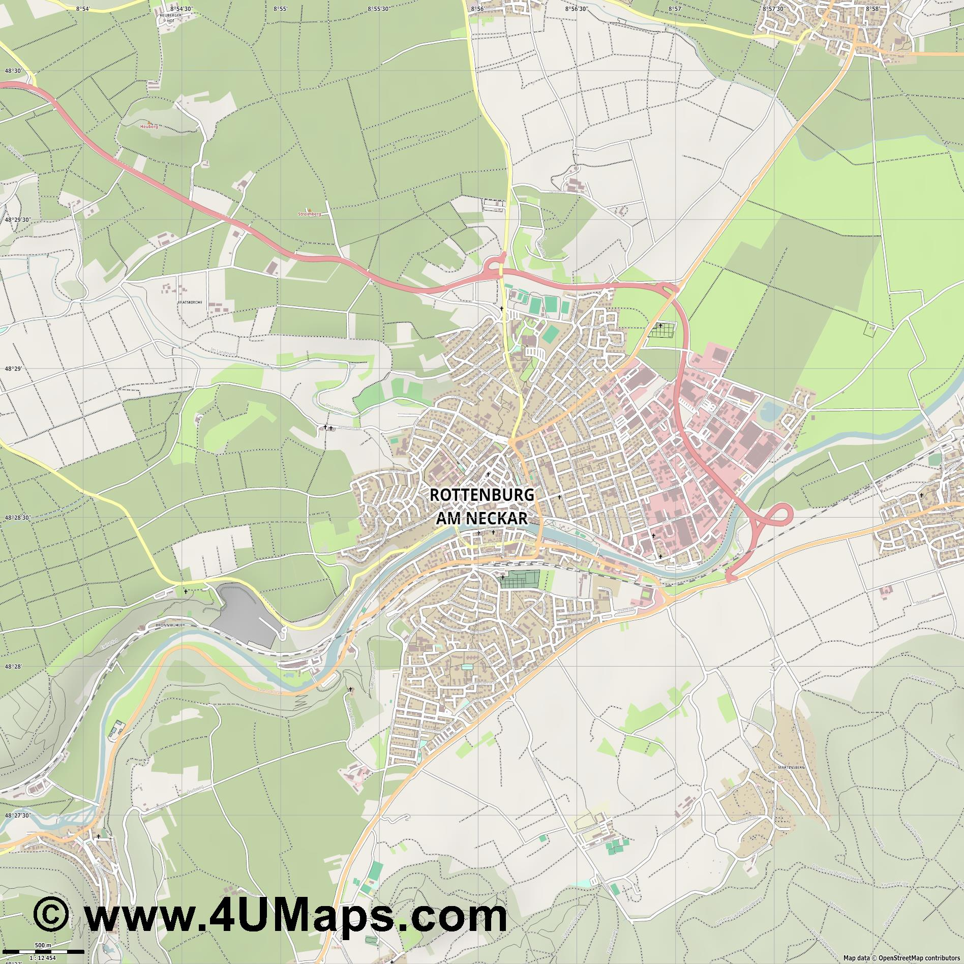 Rottenburg am Neckar  jpg ultra high detail preview vector city map