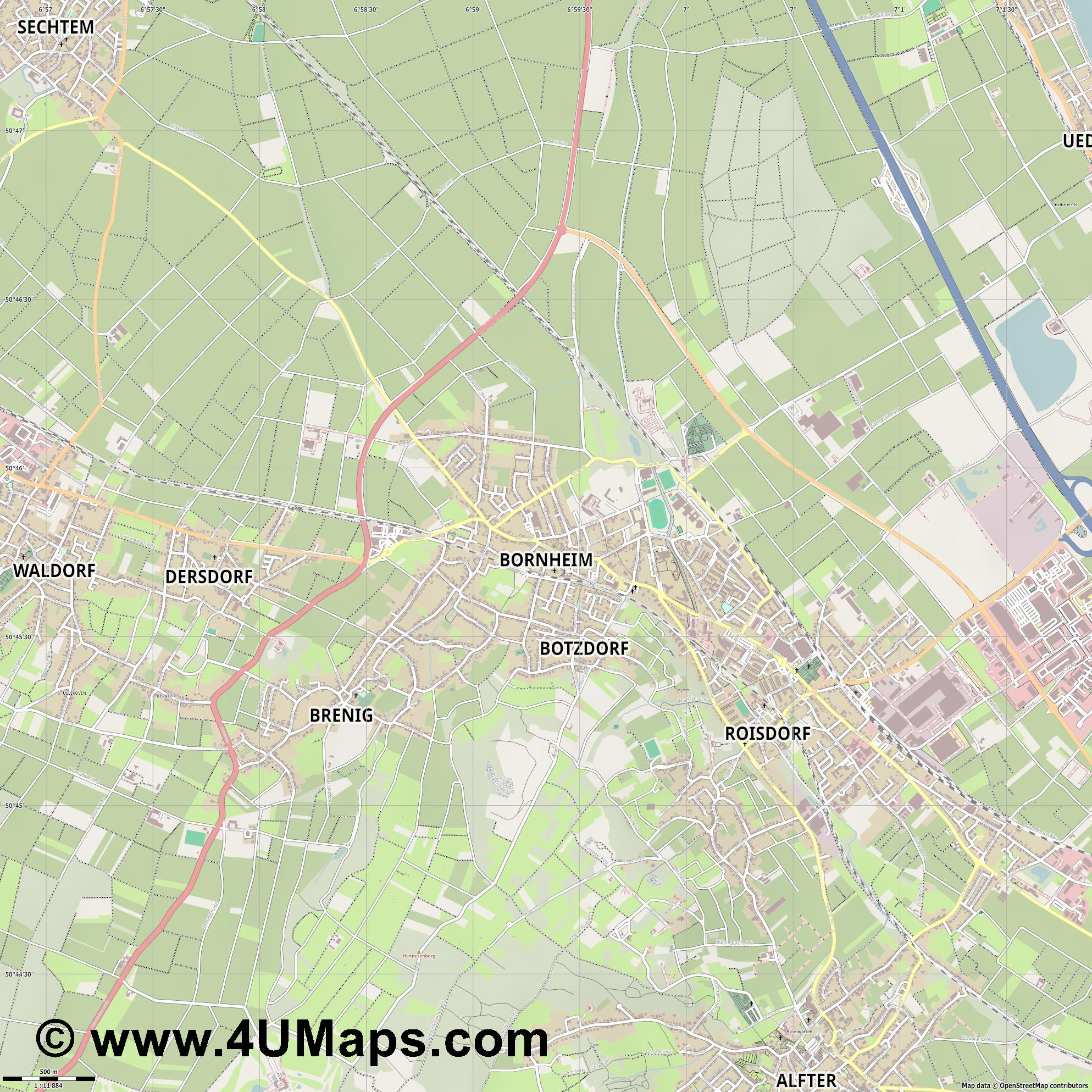 Bornheim  jpg ultra high detail preview vector city map