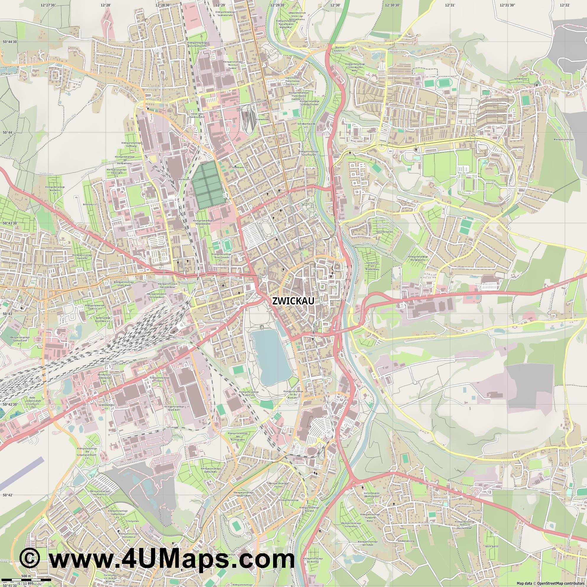 Zwickau  jpg ultra high detail preview vector city map