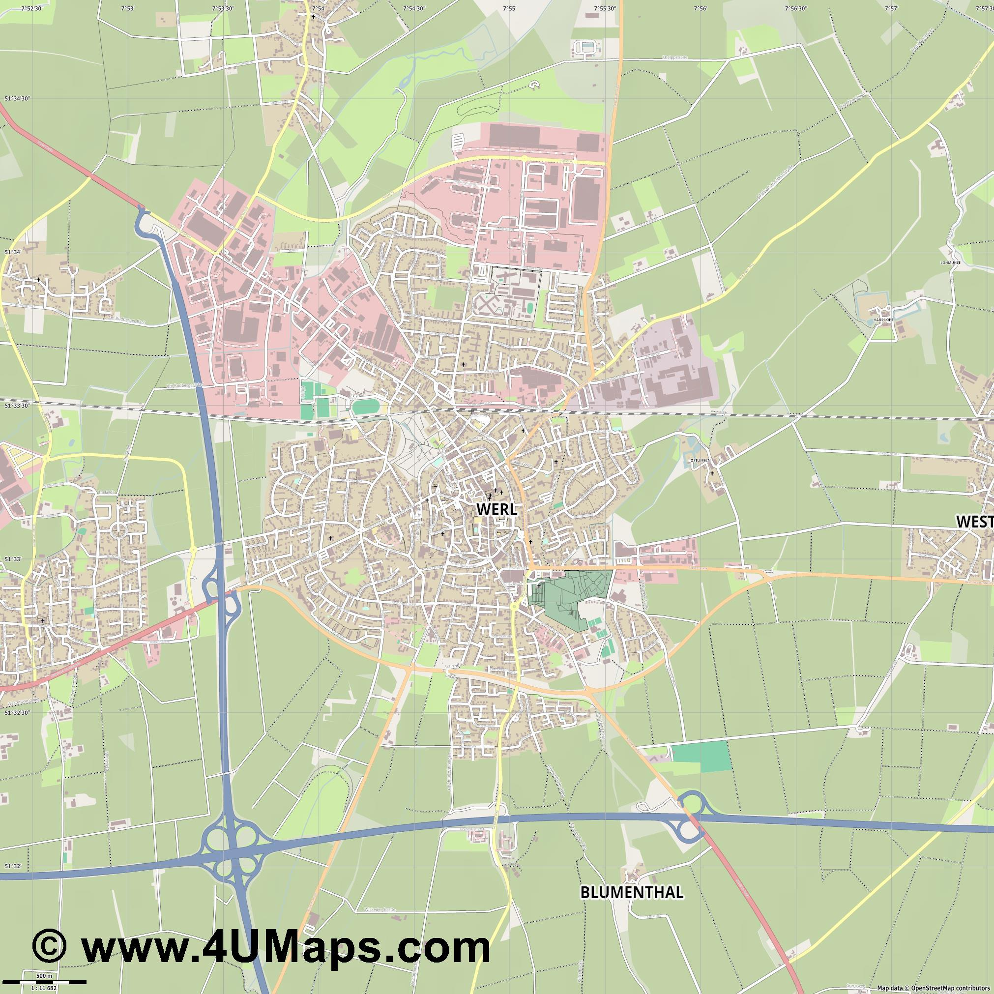Werl  jpg ultra high detail preview vector city map