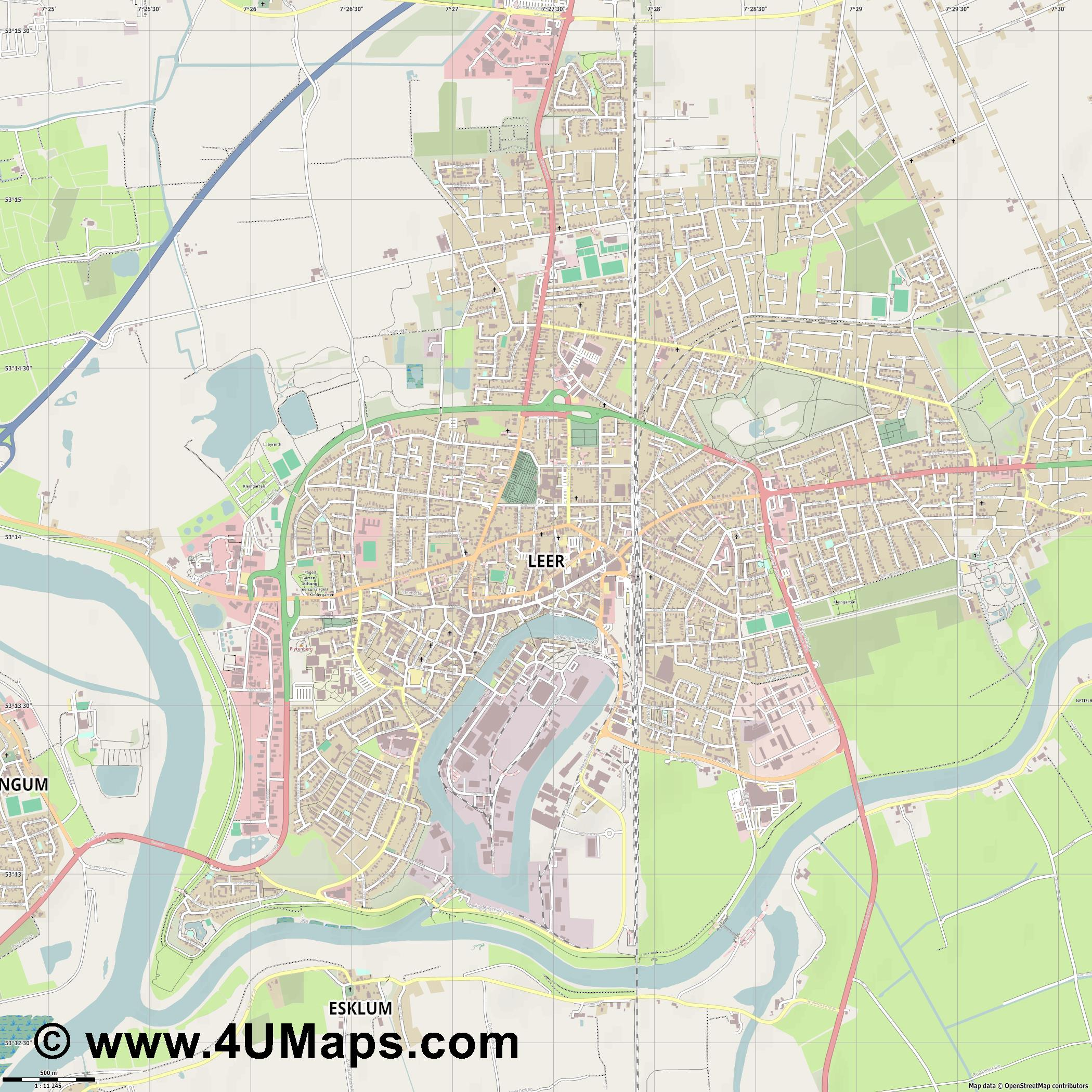 Leer  Ostfriesland   jpg ultra high detail preview vector city map