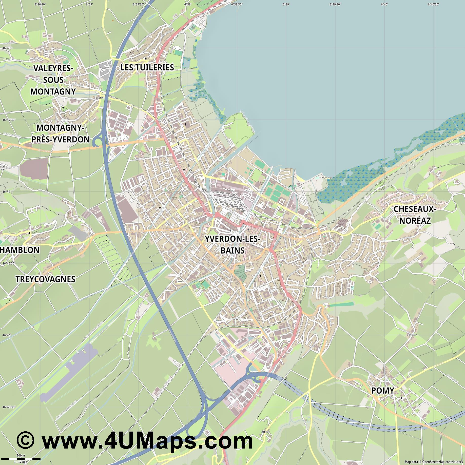 Yverdon les Bains  jpg ultra high detail preview vector city map