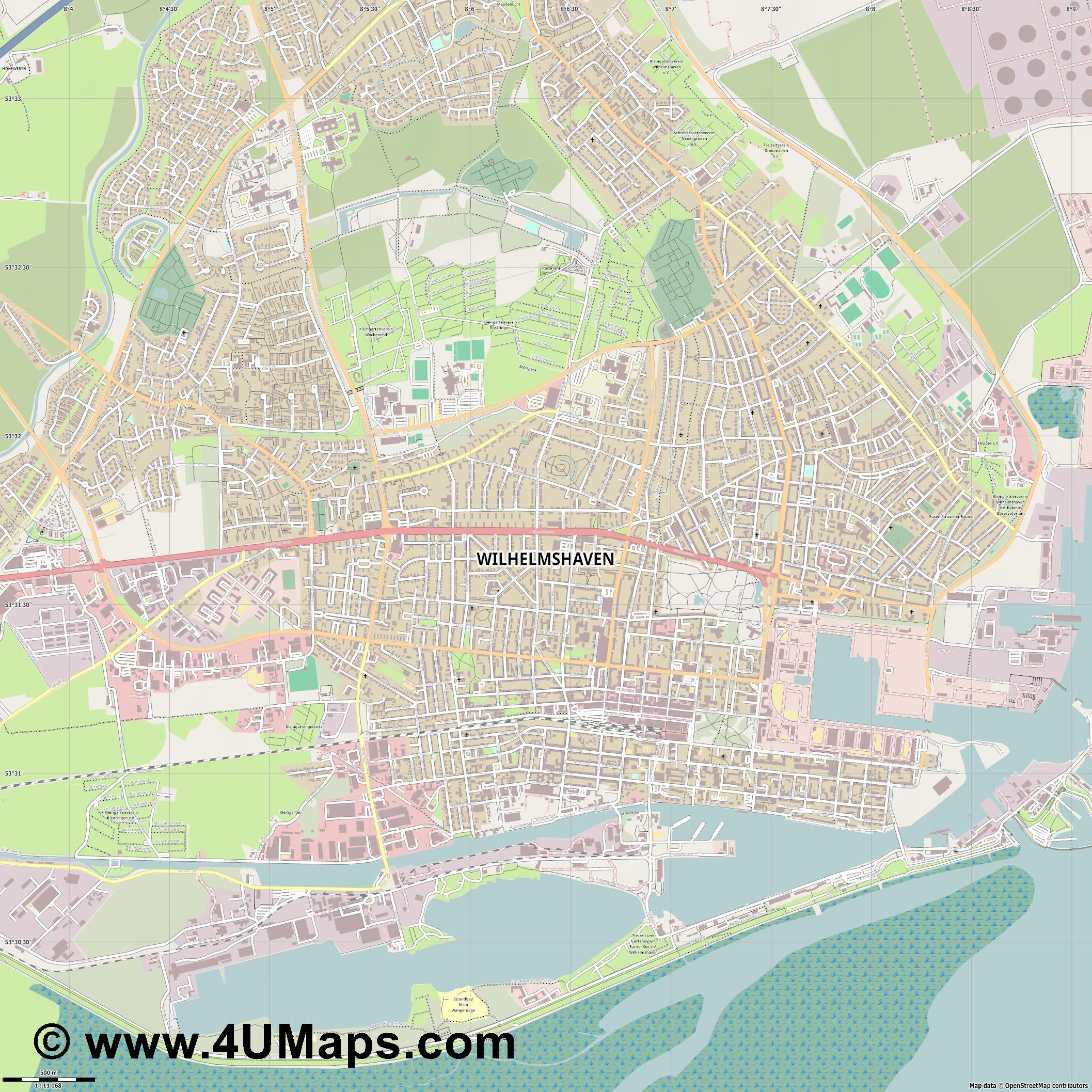 Wilhelmshaven  jpg ultra high detail preview vector city map
