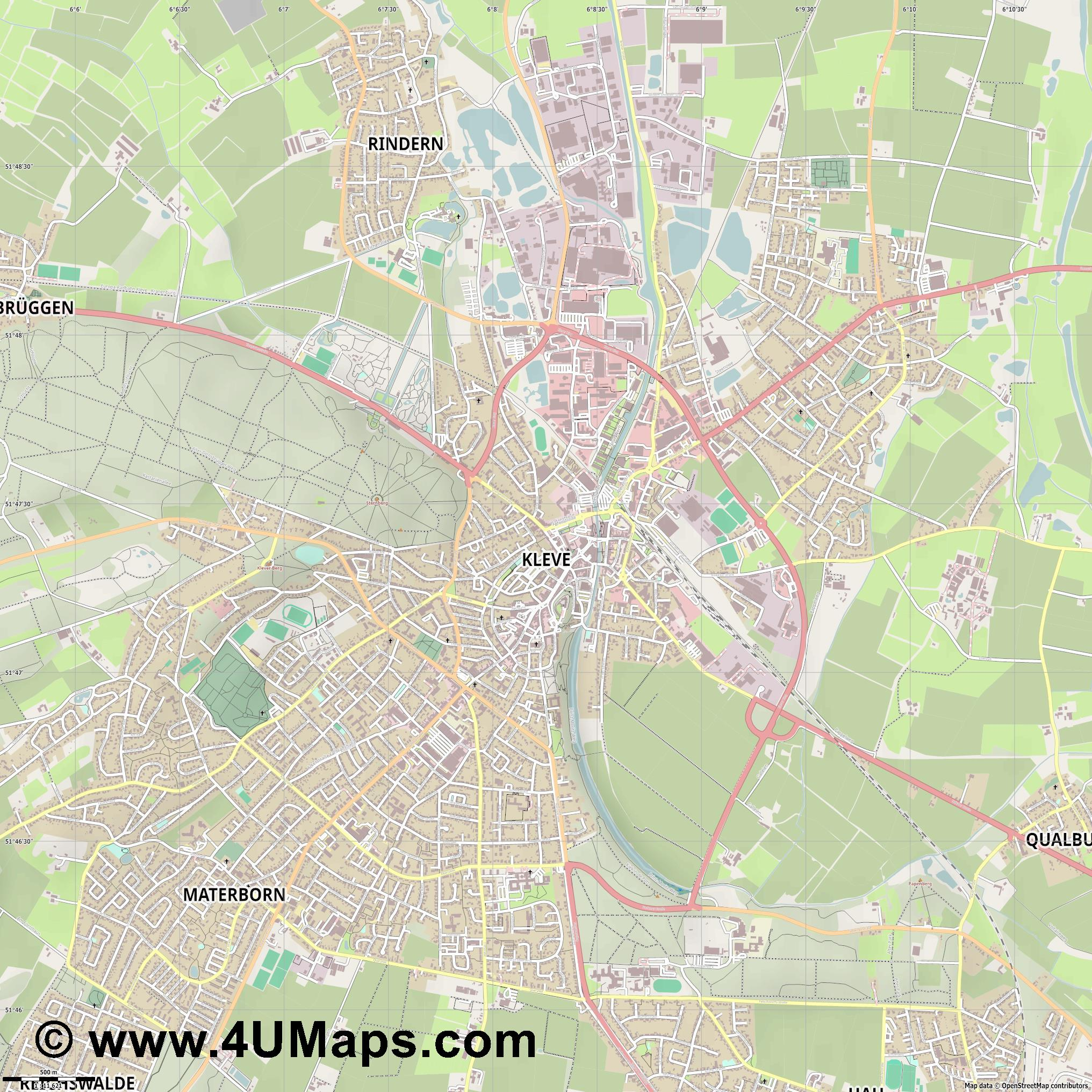Kleve Cléveris Clèves  jpg ultra high detail preview vector city map