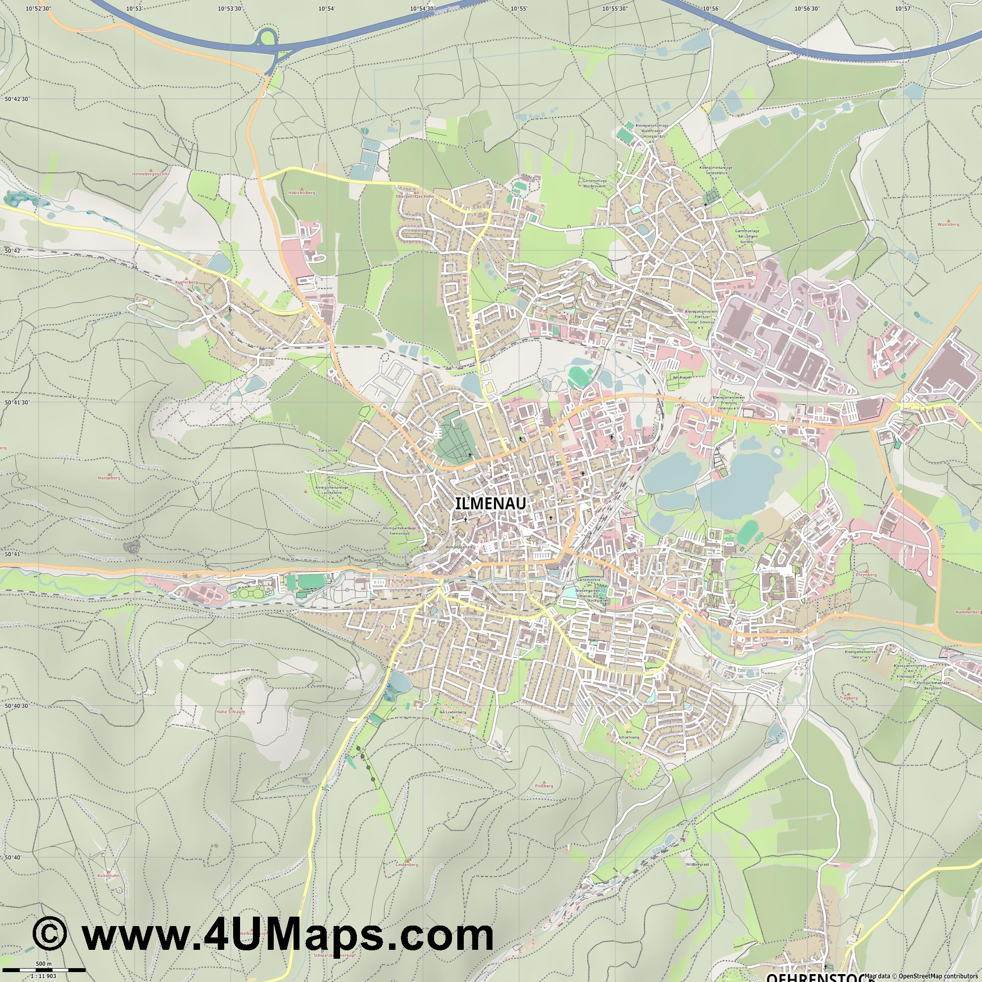 Ilmenau  jpg ultra high detail preview vector city map