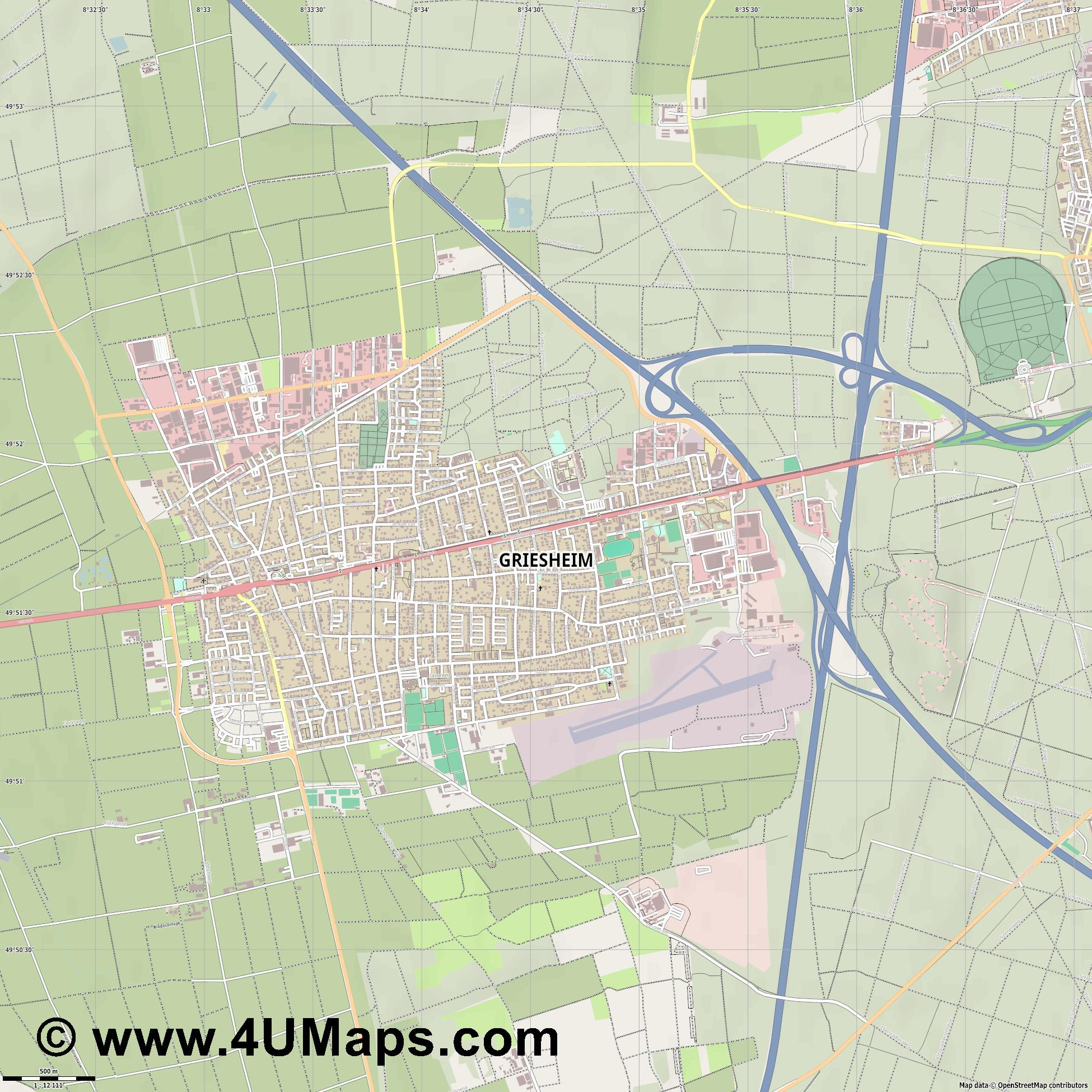 Griesheim  jpg ultra high detail preview vector city map