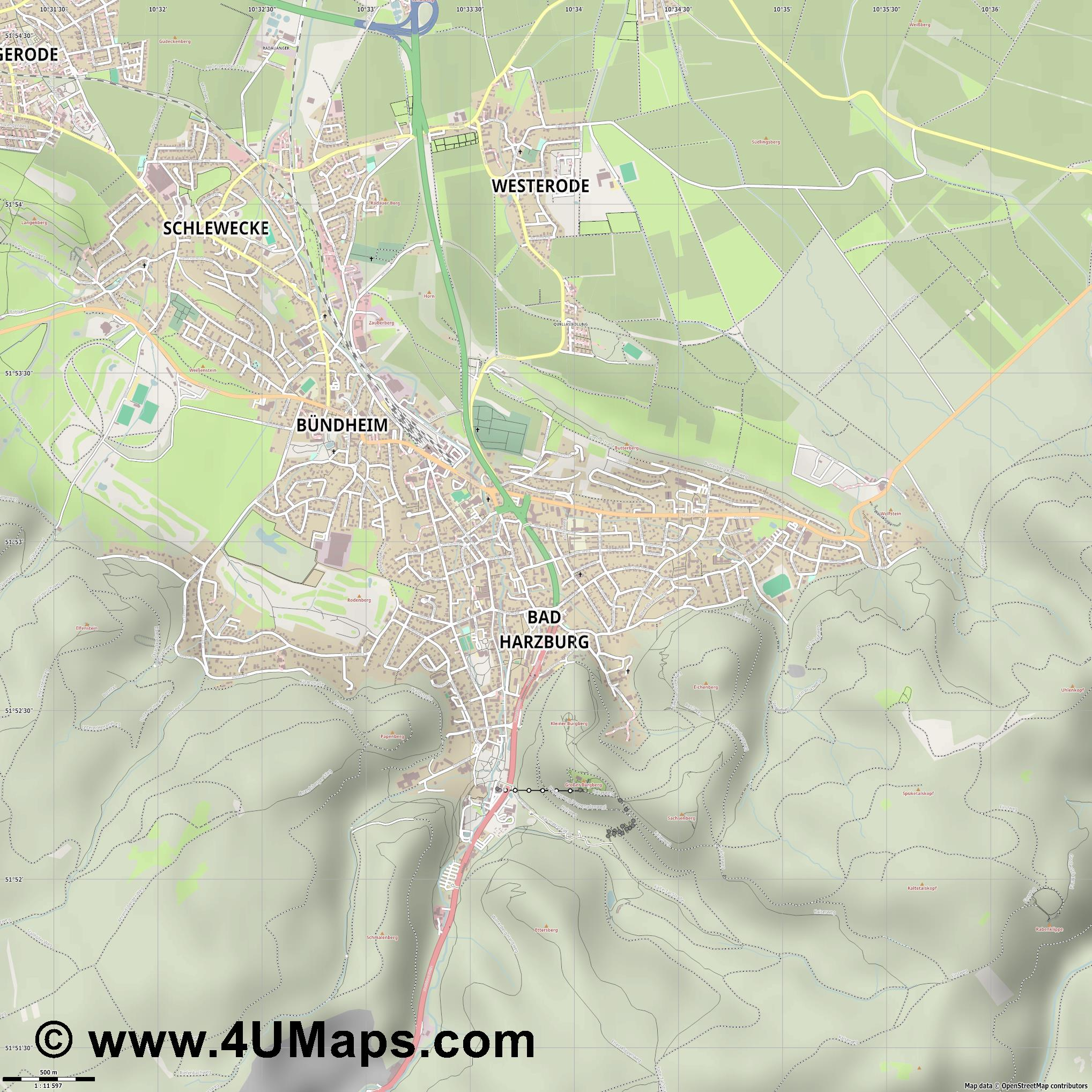 Bad Harzburg  jpg ultra high detail preview vector city map
