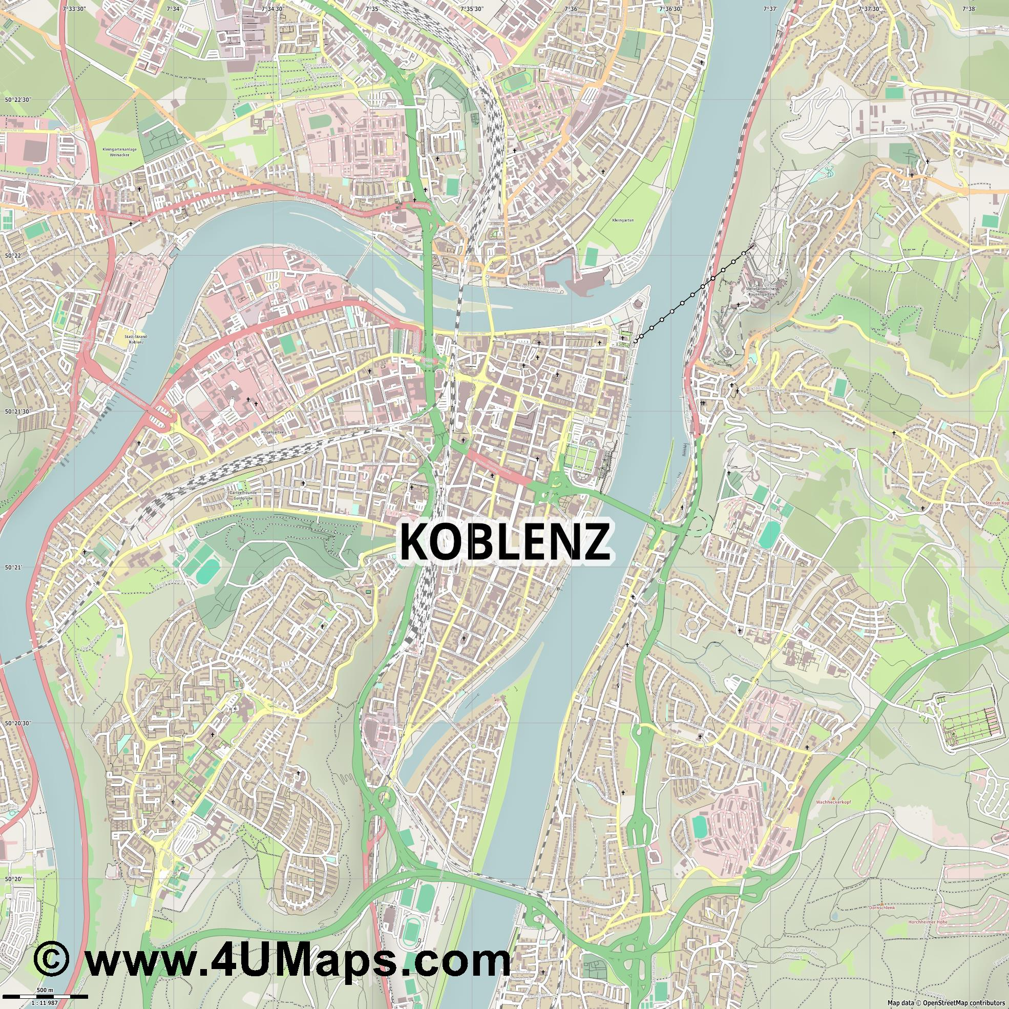 Koblenz Coblenza Coblence  jpg ultra high detail preview vector city map