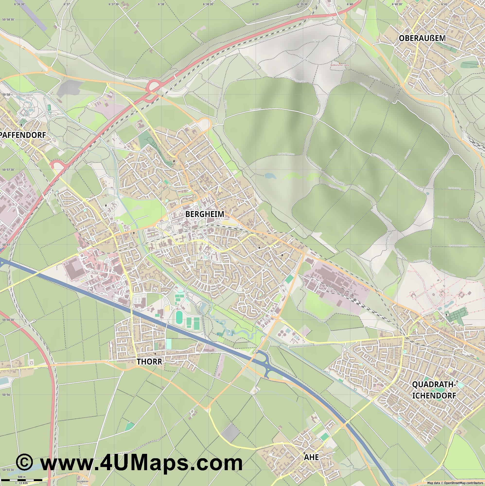 Bergheim  jpg ultra high detail preview vector city map