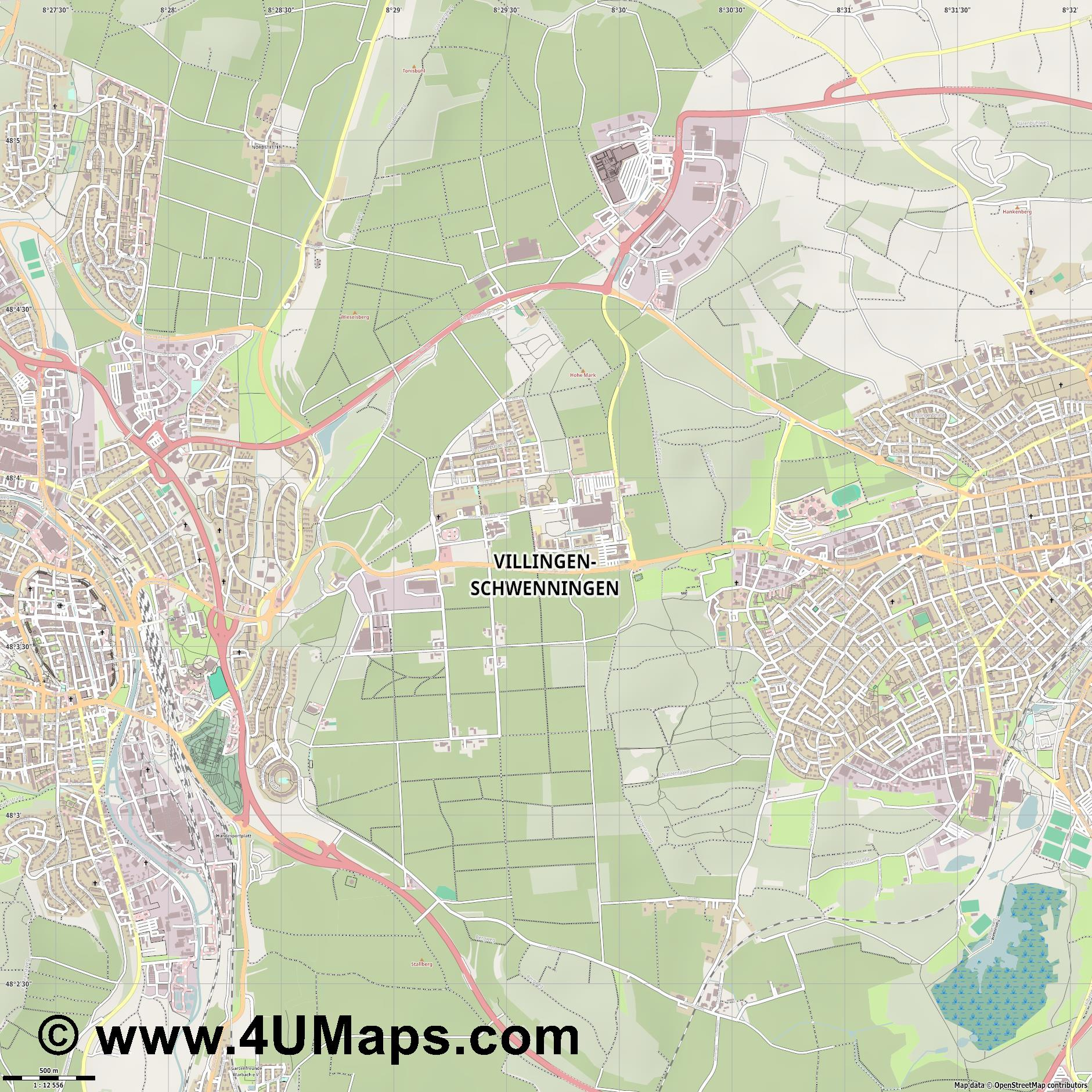 Villingen Schwenningen  jpg ultra high detail preview vector city map