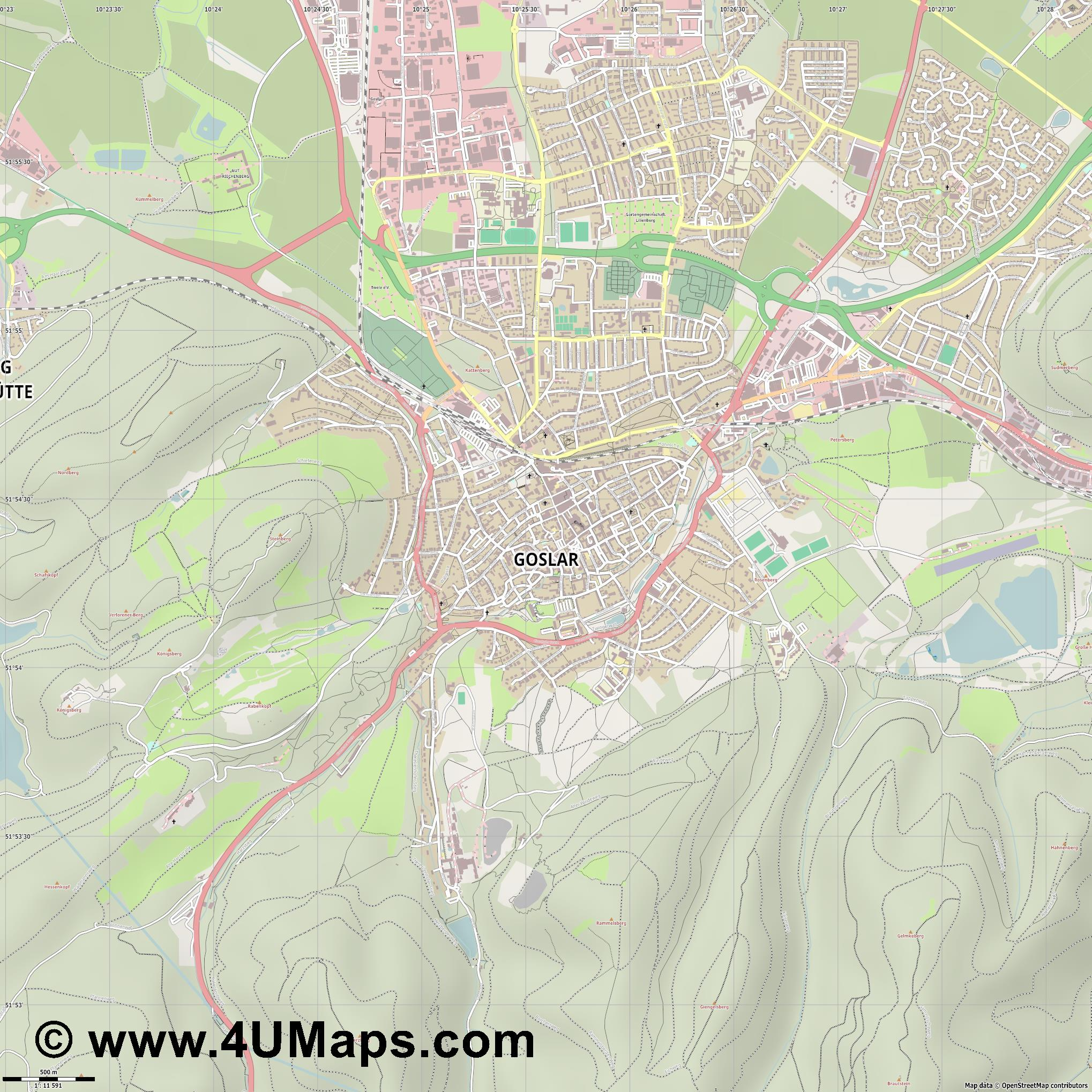 Goslar  jpg ultra high detail preview vector city map