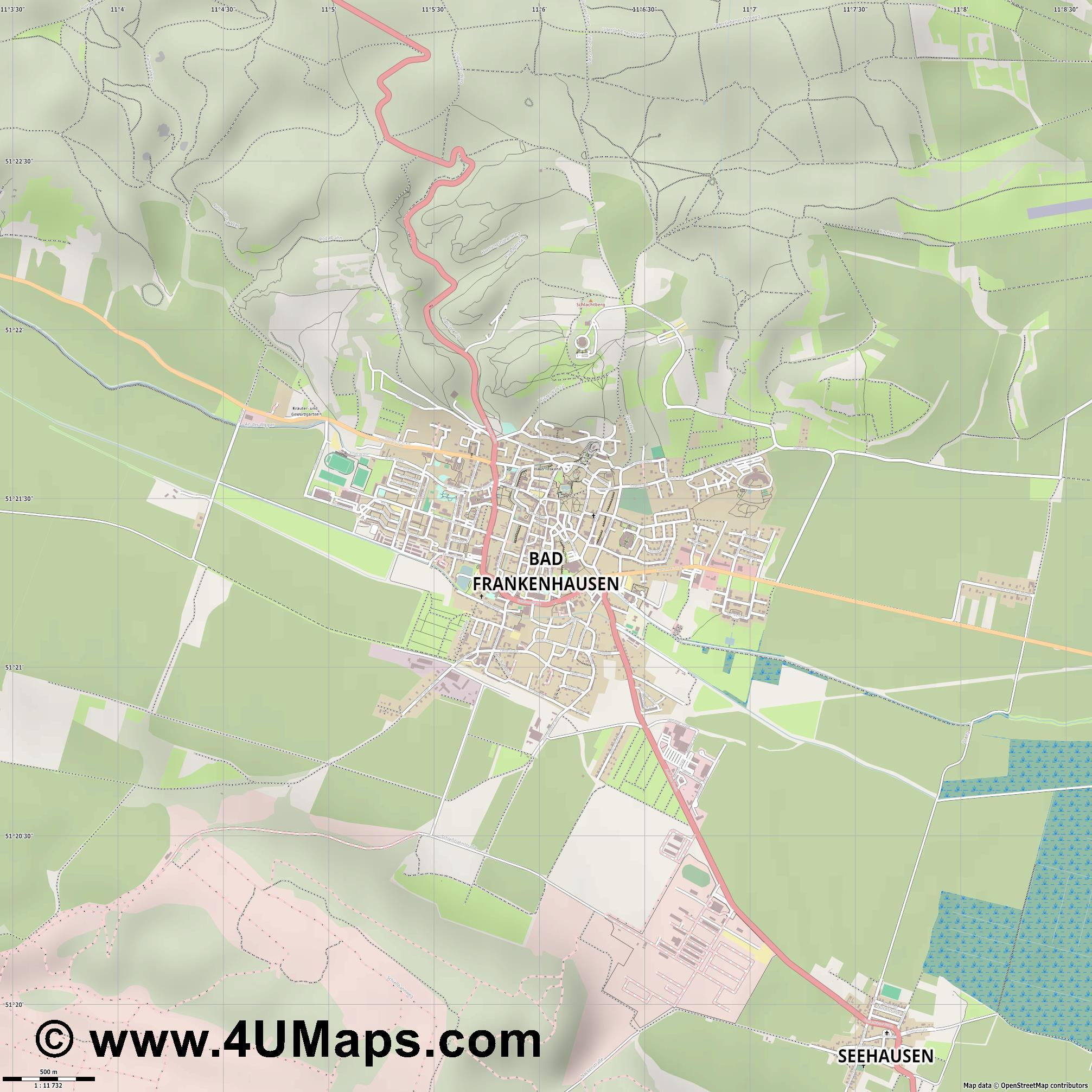 Bad Frankenhausen Kyffhäuser  jpg ultra high detail preview vector city map
