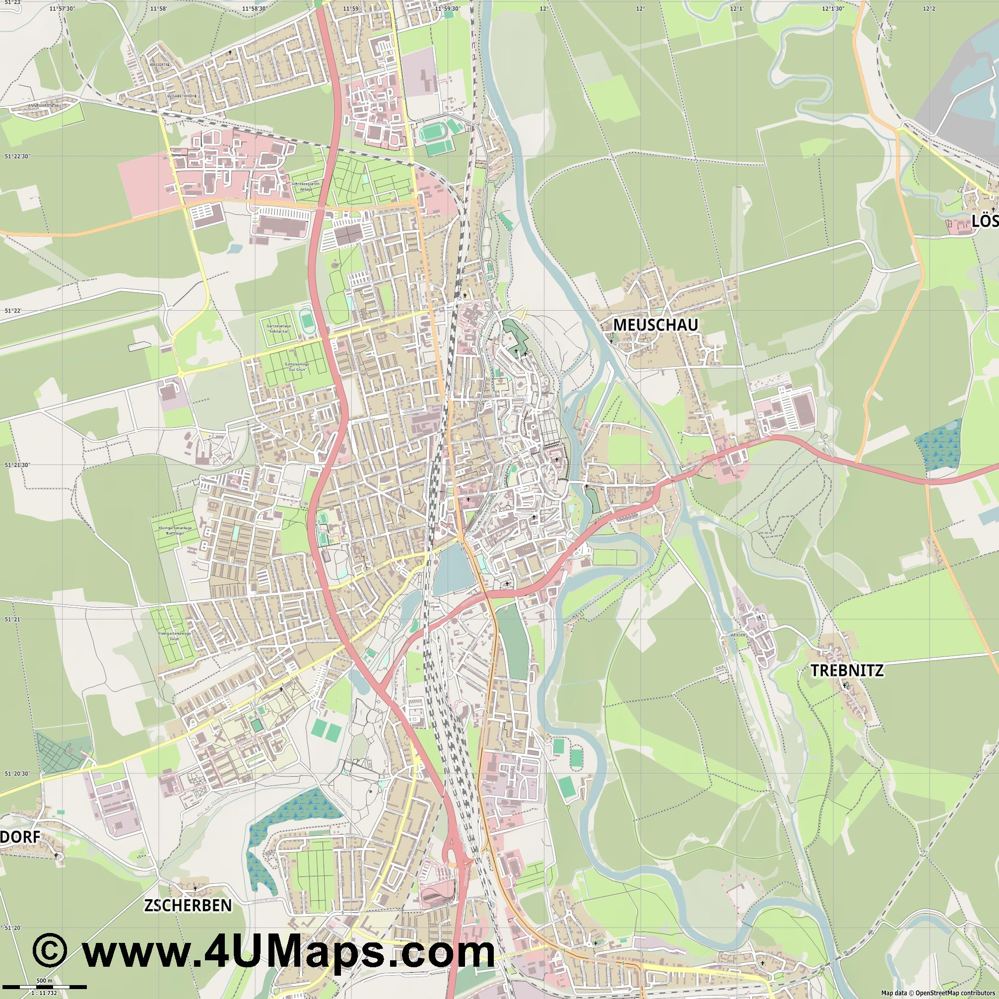 Merseburg  jpg ultra high detail preview vector city map