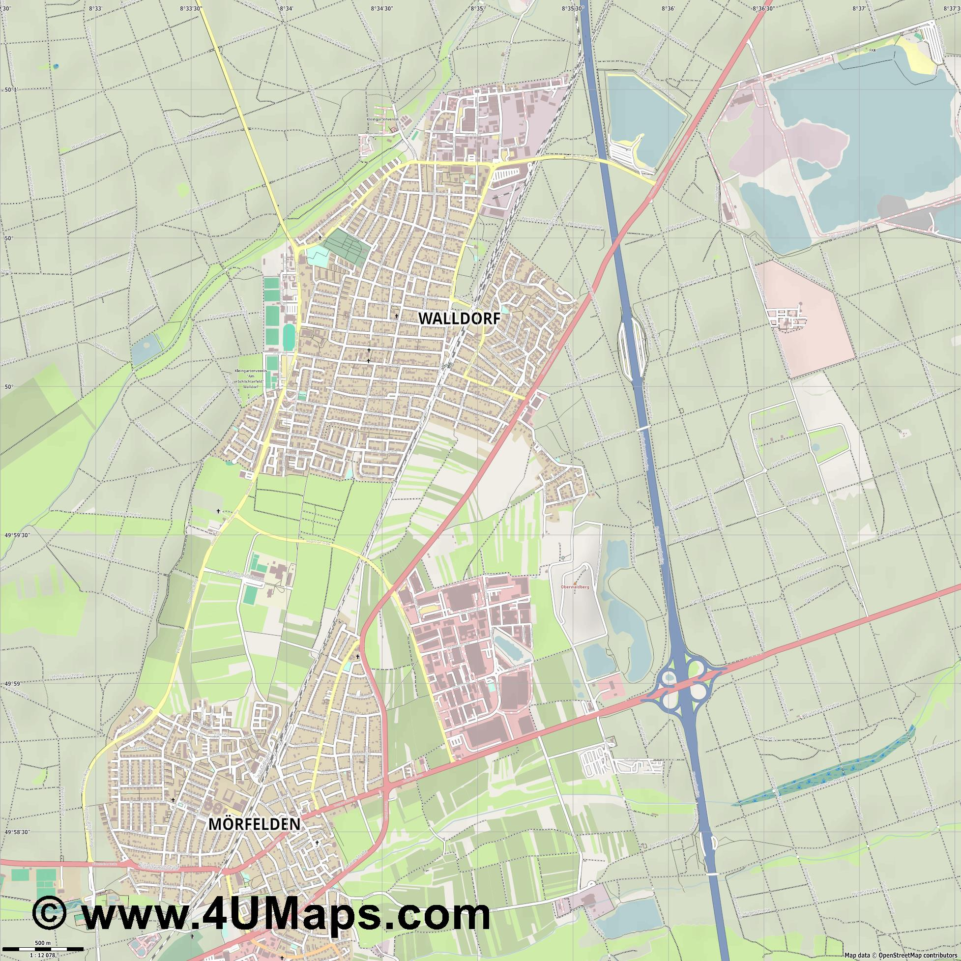 Mörfelden Walldorf  jpg ultra high detail preview vector city map