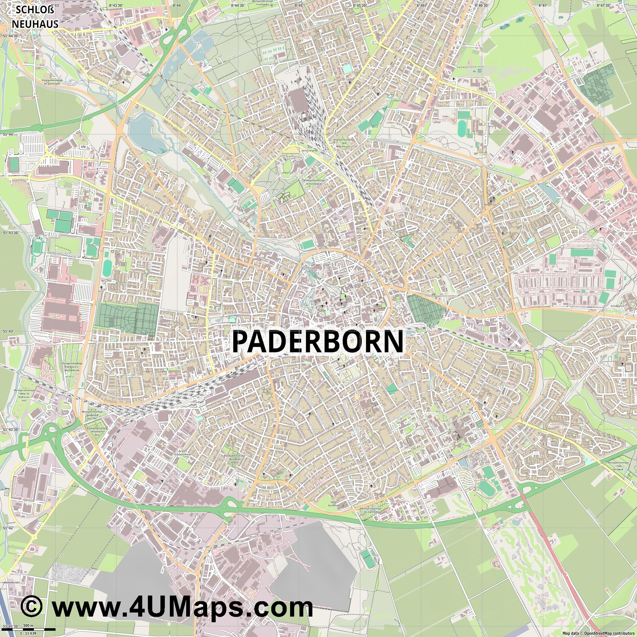 Paderborn  jpg ultra high detail preview vector city map
