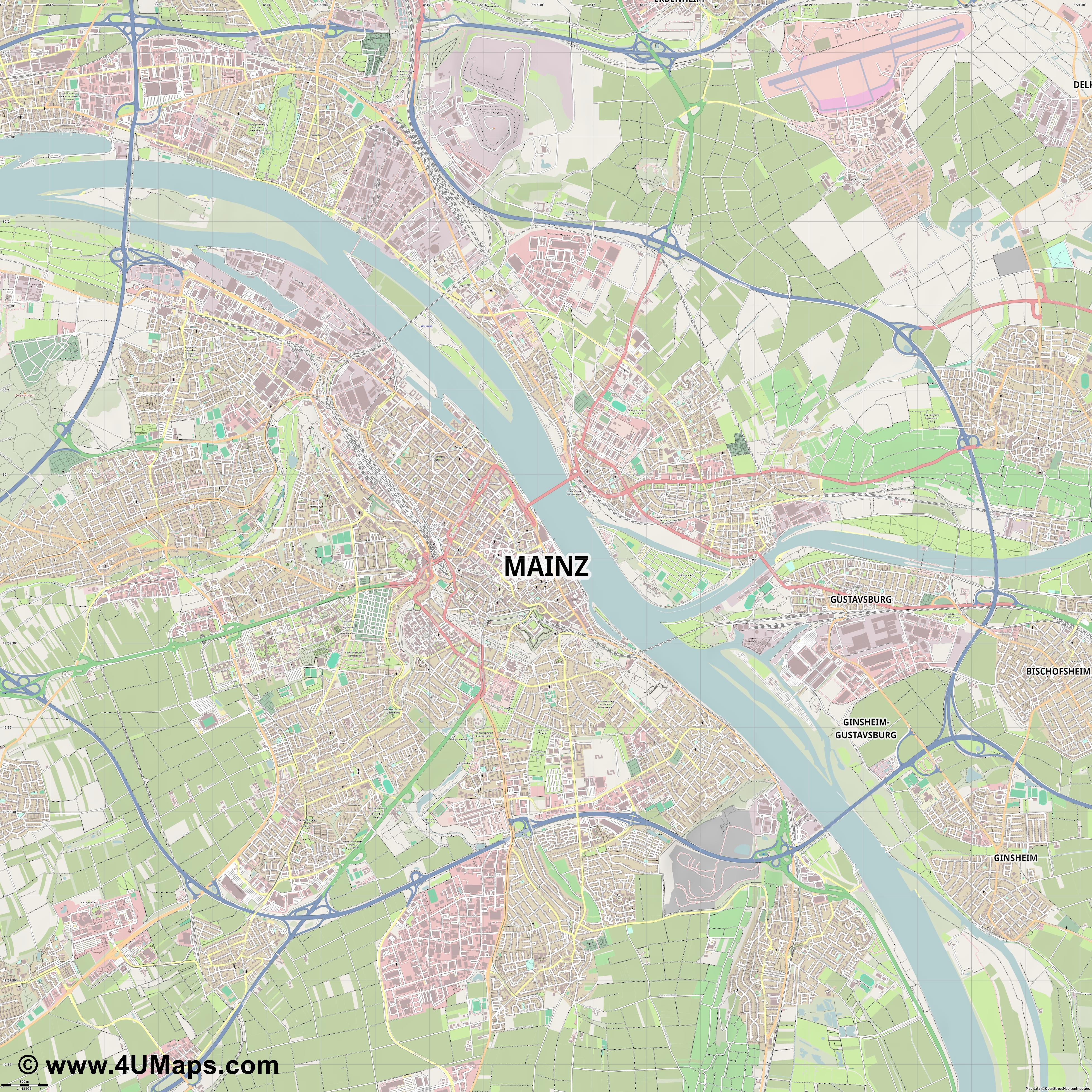 Mainz Maguncia Mayence  jpg ultra high detail preview vector city map