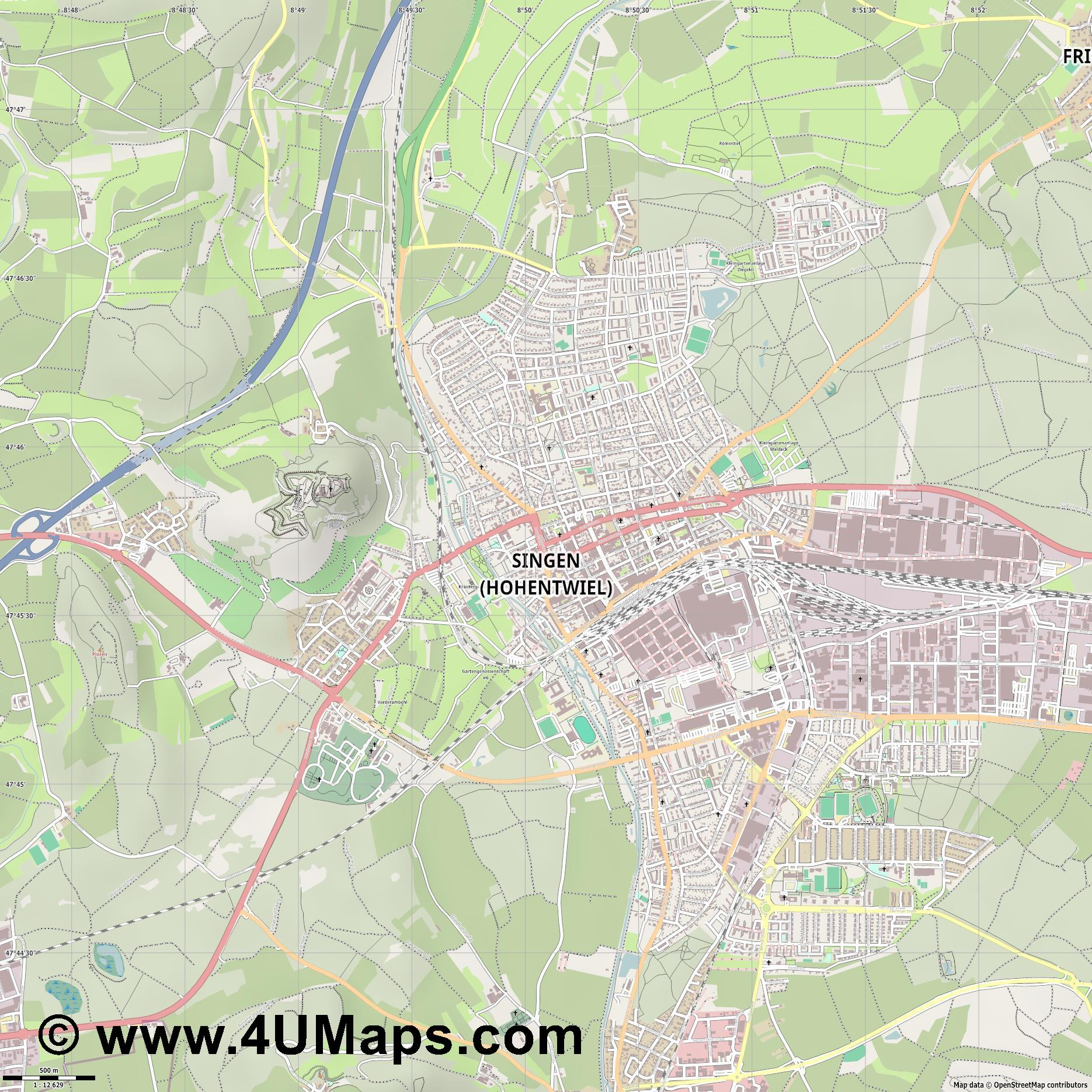 Singen  Hohentwiel   jpg ultra high detail preview vector city map