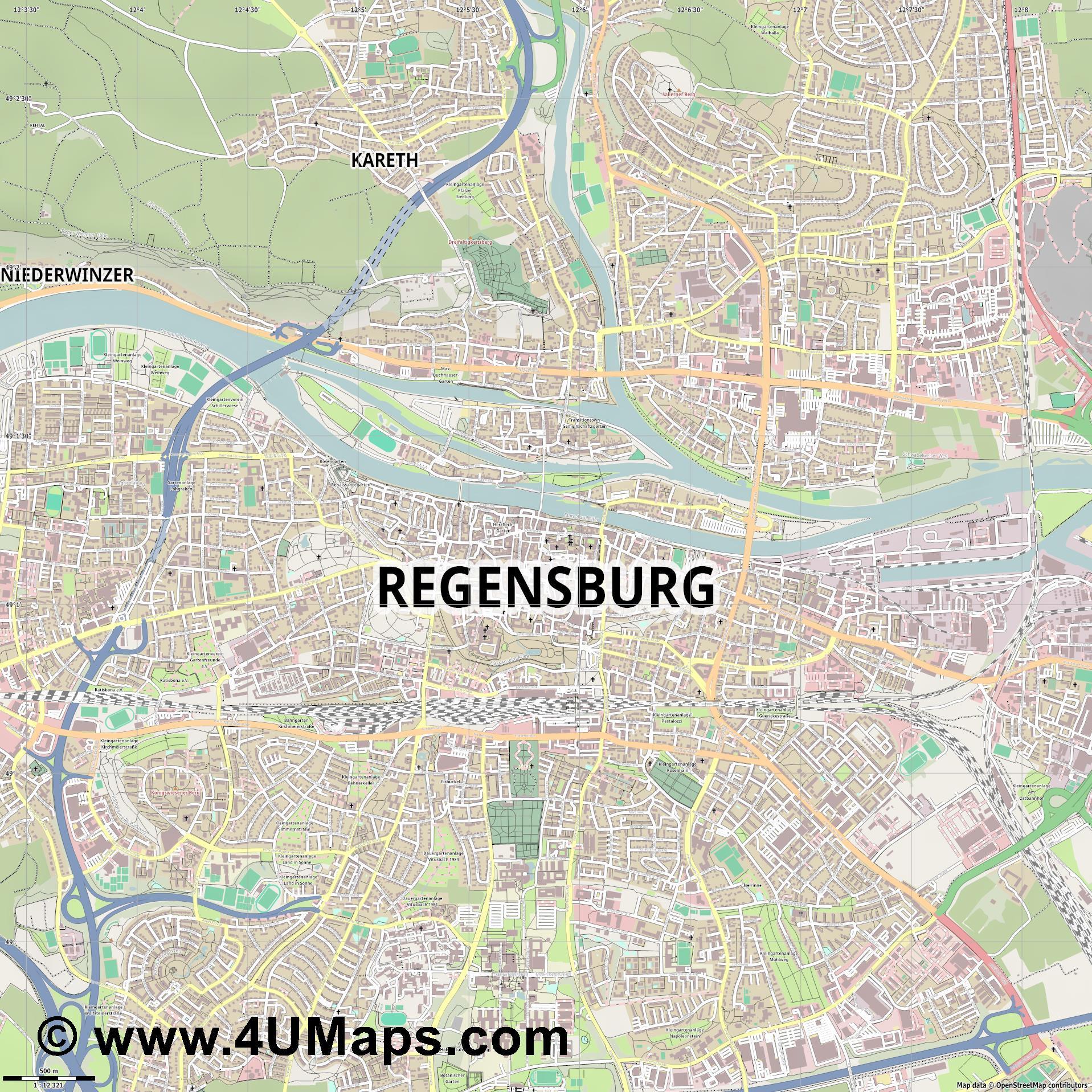 Svg Scalable Vector City Map Regensburg - Regensburg map