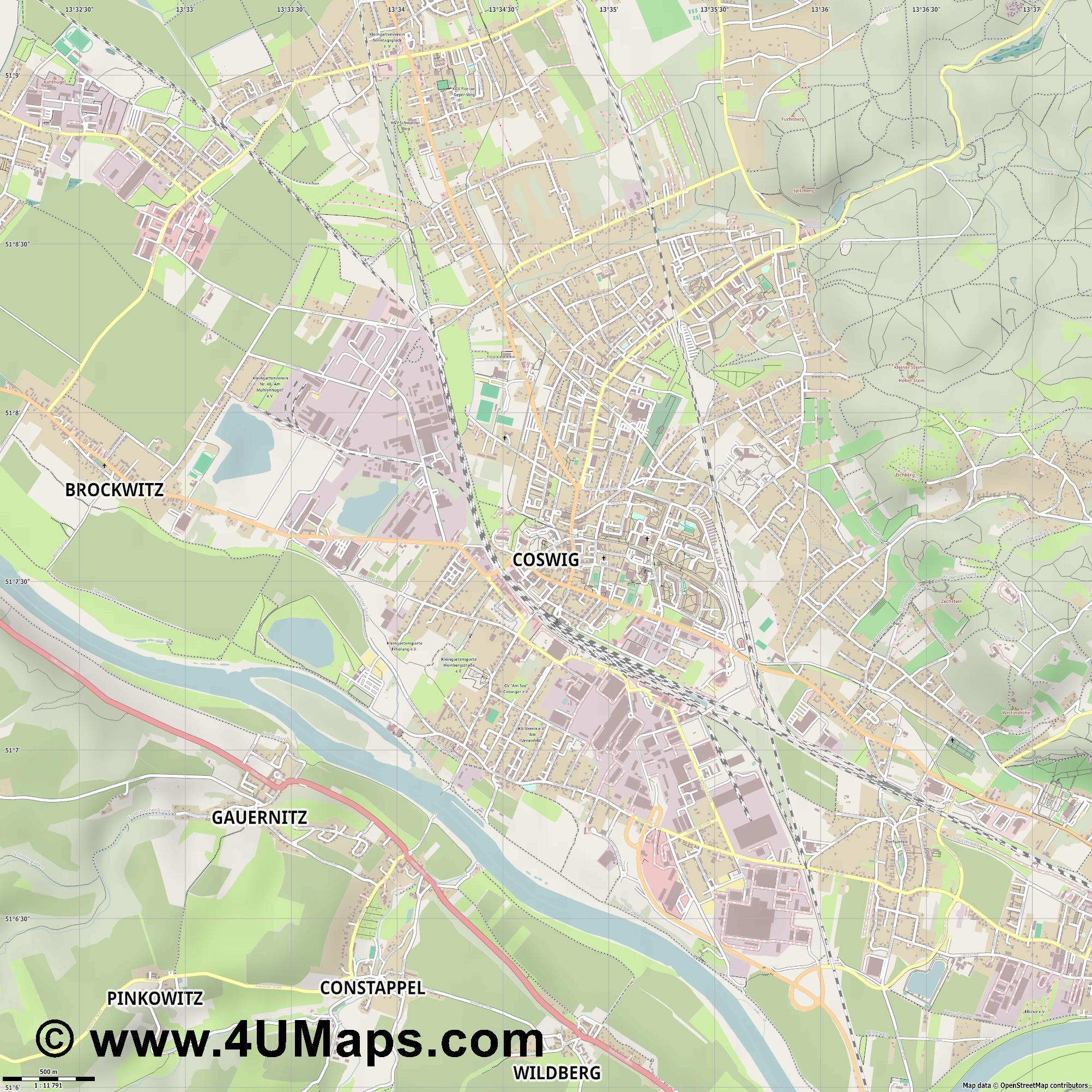 Coswig  jpg ultra high detail preview vector city map