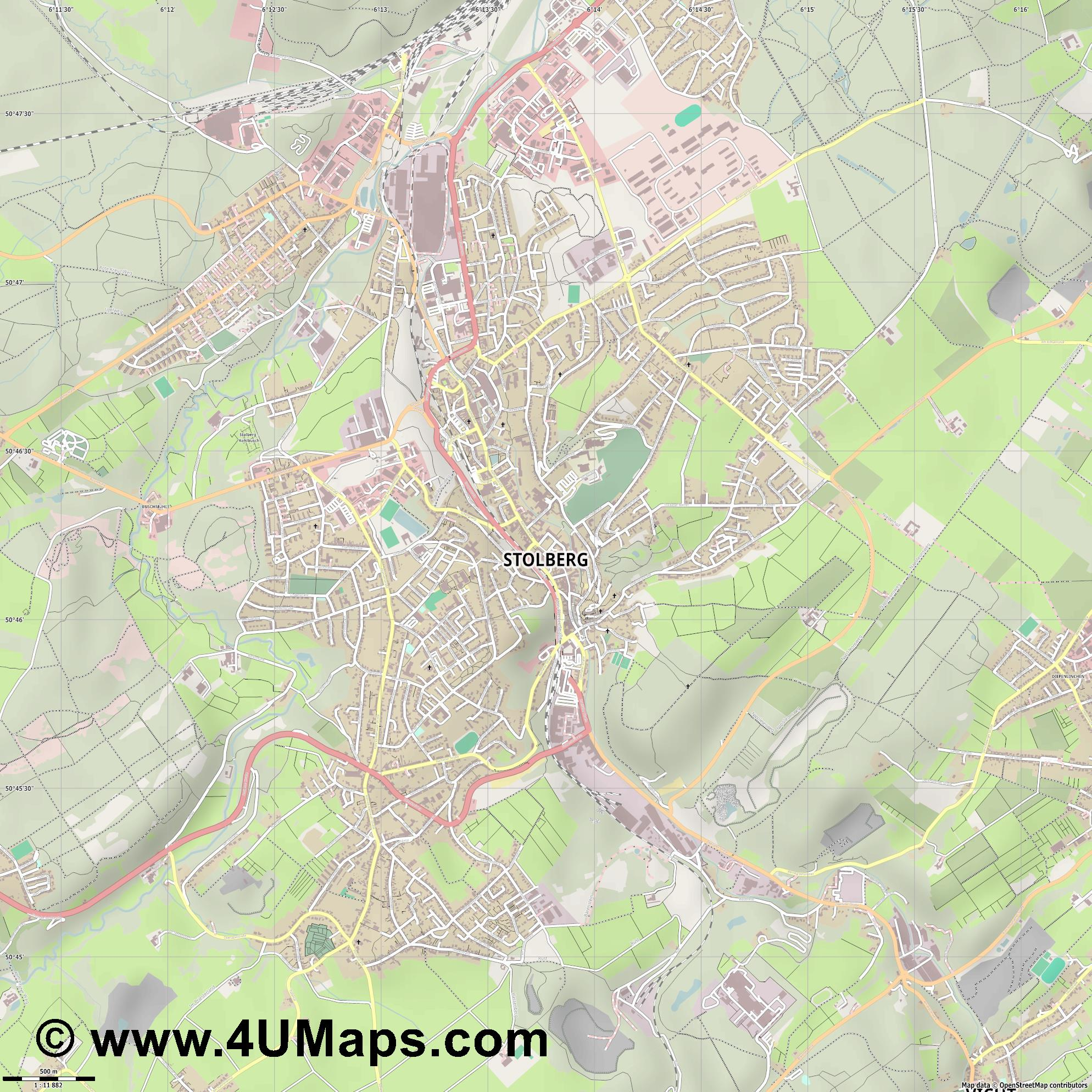 Stolberg  Rheinland   jpg ultra high detail preview vector city map
