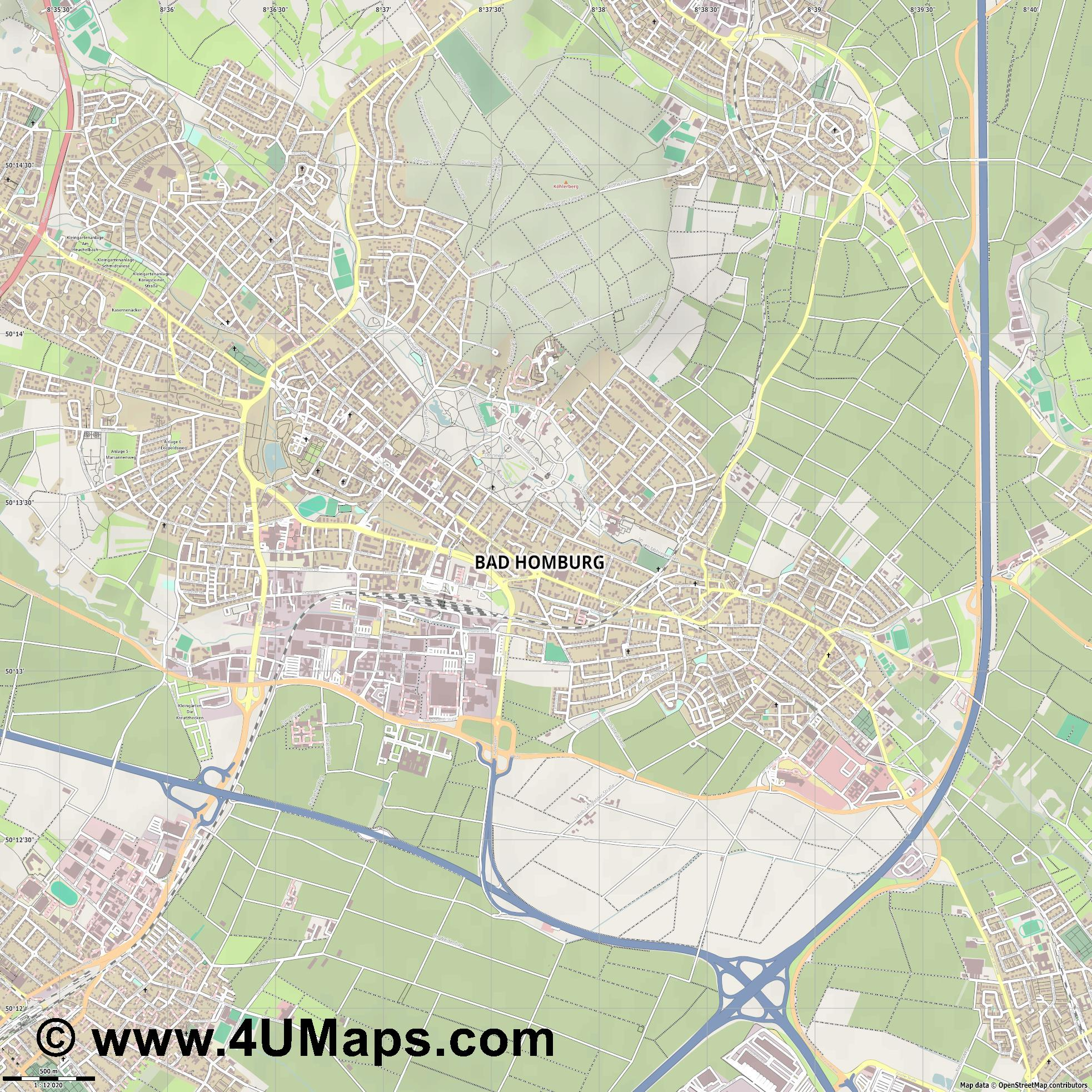 Bad Homburg vor der Höhe  jpg ultra high detail preview vector city map
