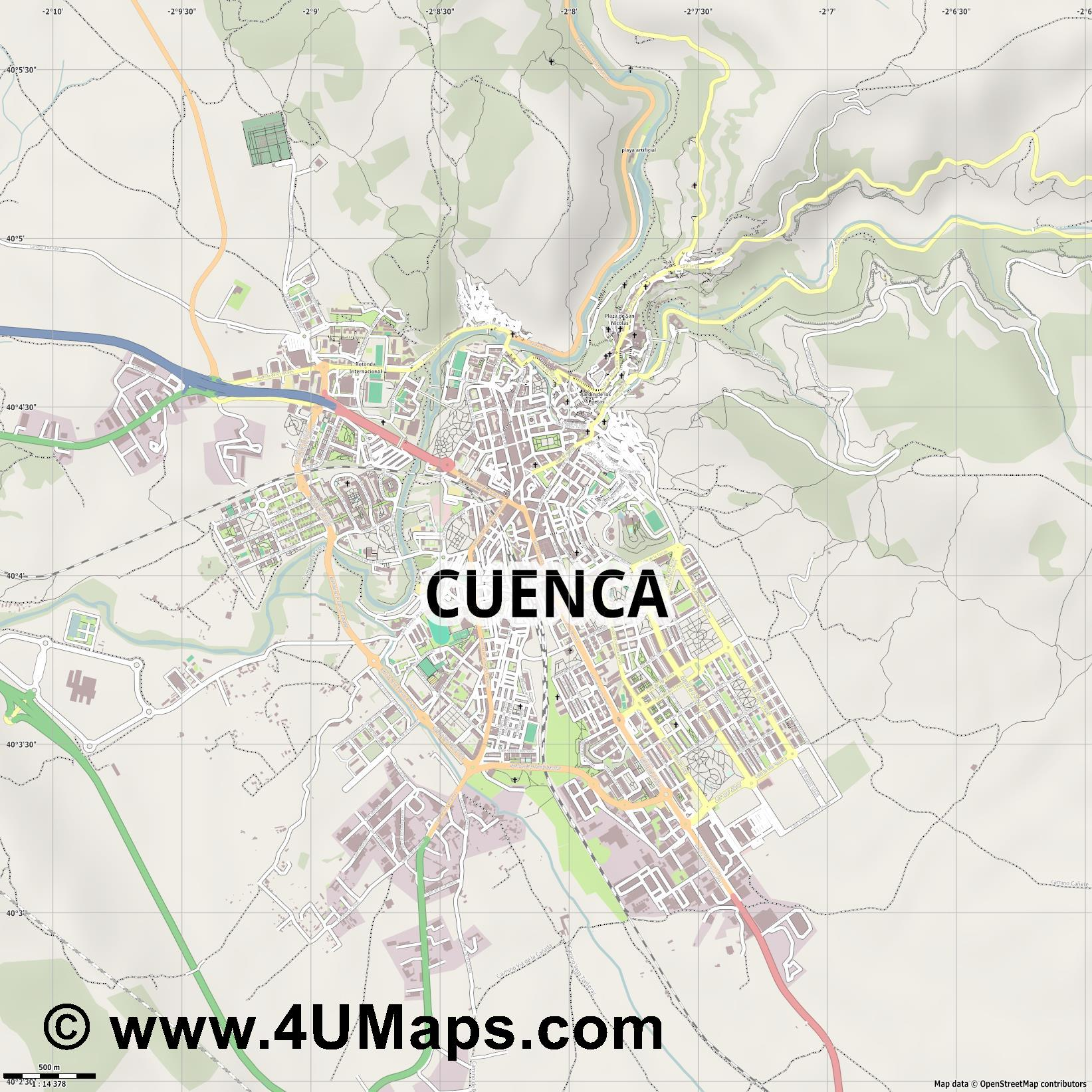 Cuenca  jpg ultra high detail preview vector city map