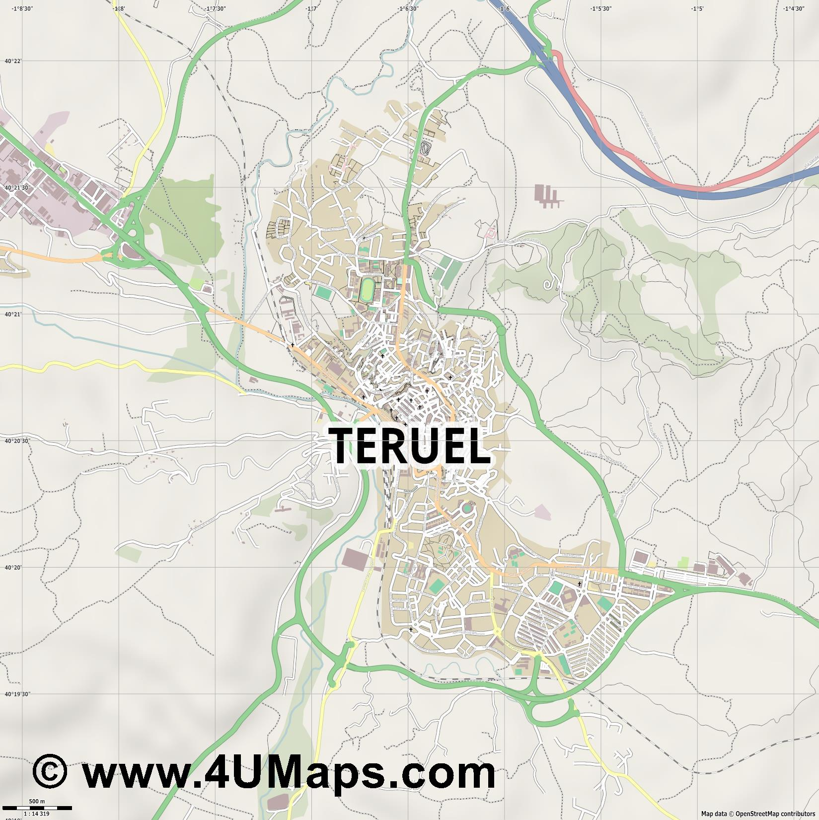 Teruel  jpg ultra high detail preview vector city map