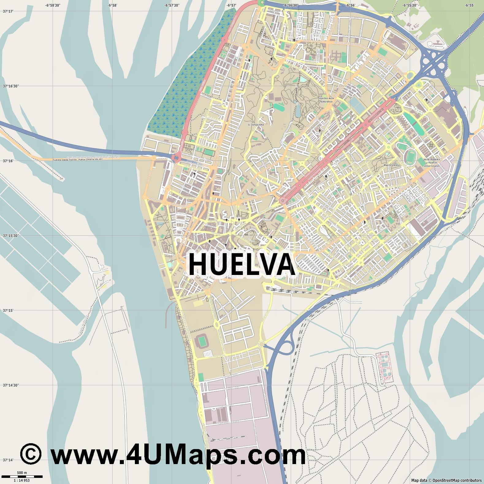 Huelva  jpg ultra high detail preview vector city map