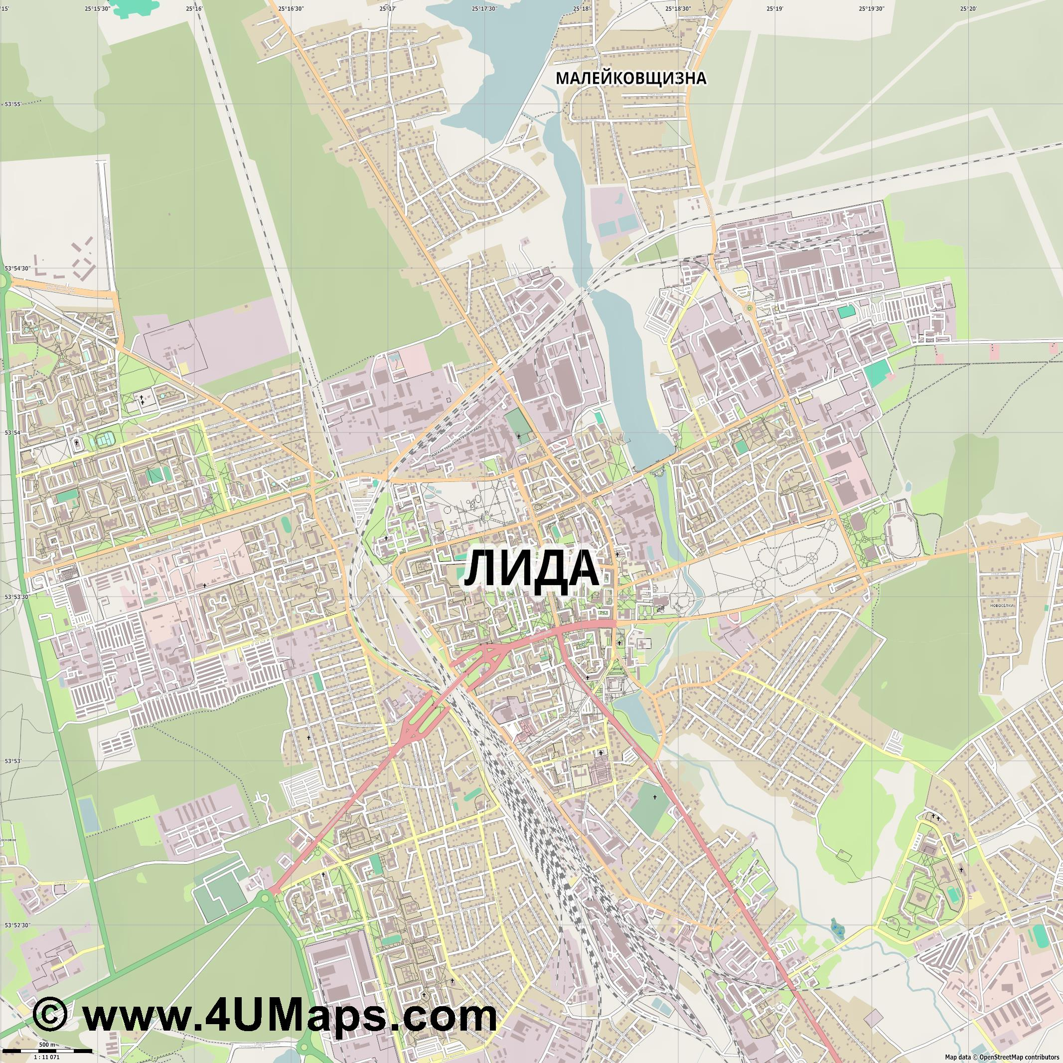 Лида Lida  jpg ultra high detail preview vector city map