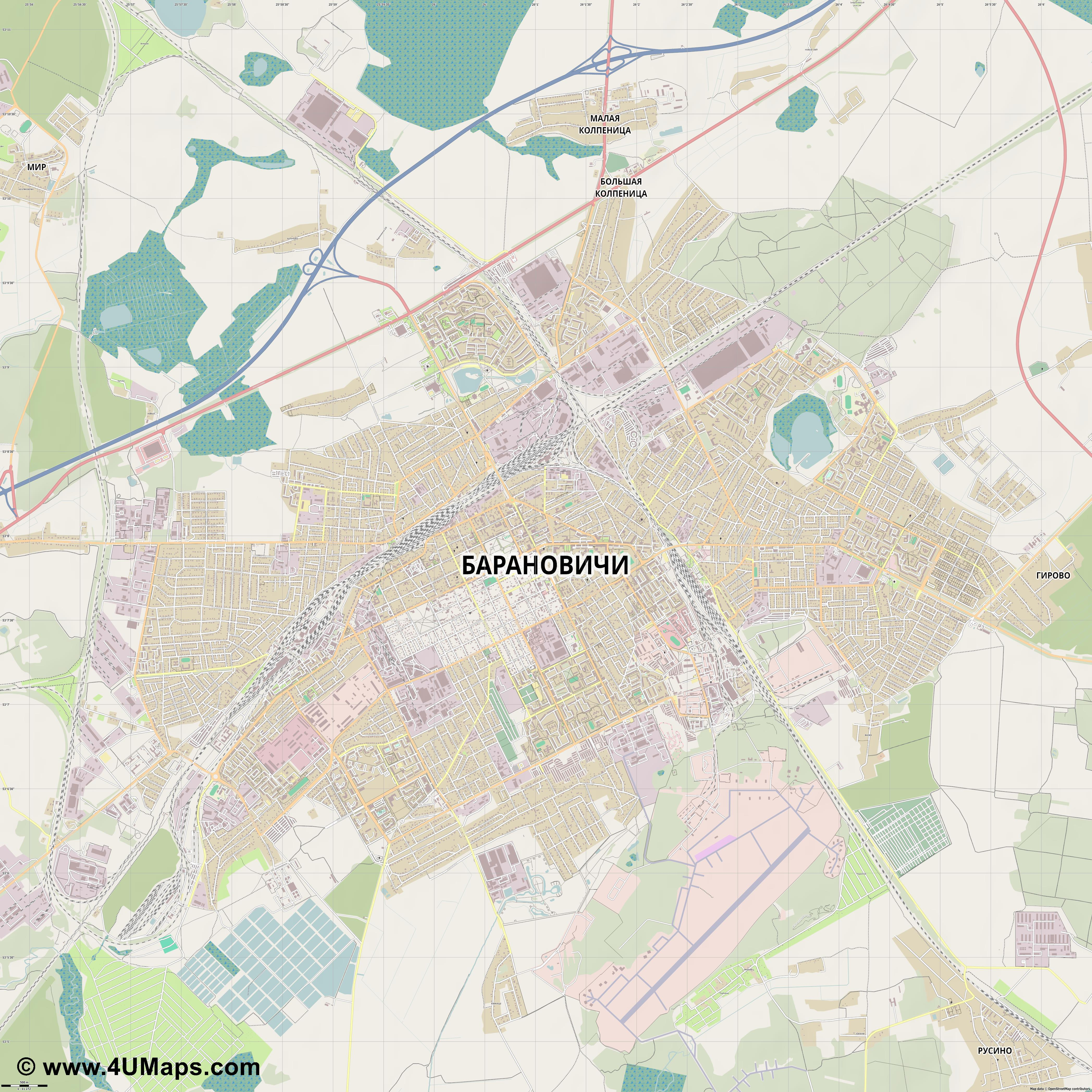 Барановичи Baranovichi Baranavitchy Baranawitschy  jpg ultra high detail preview vector city map